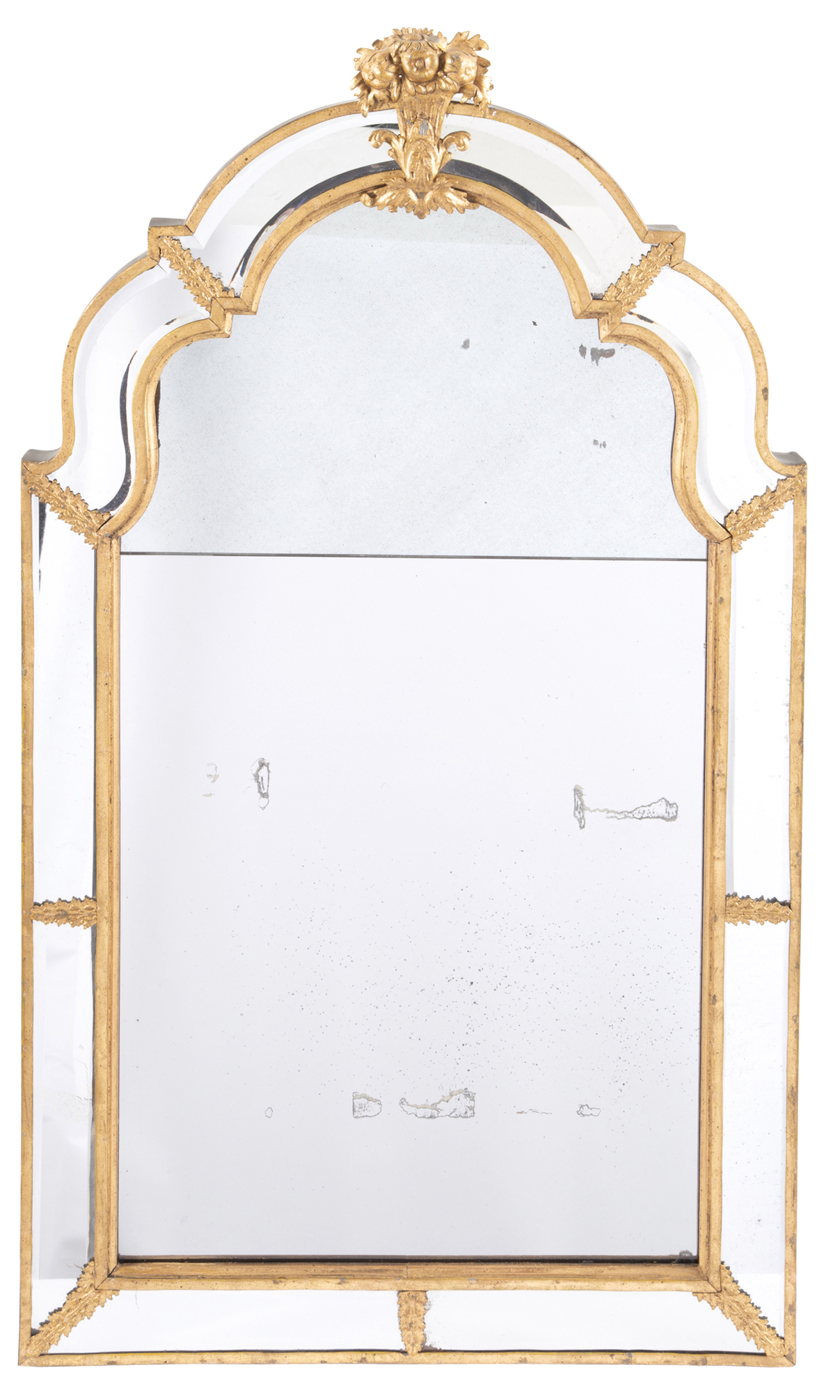 Lot image - Continental Gilt-Metal Border Glass Mirror