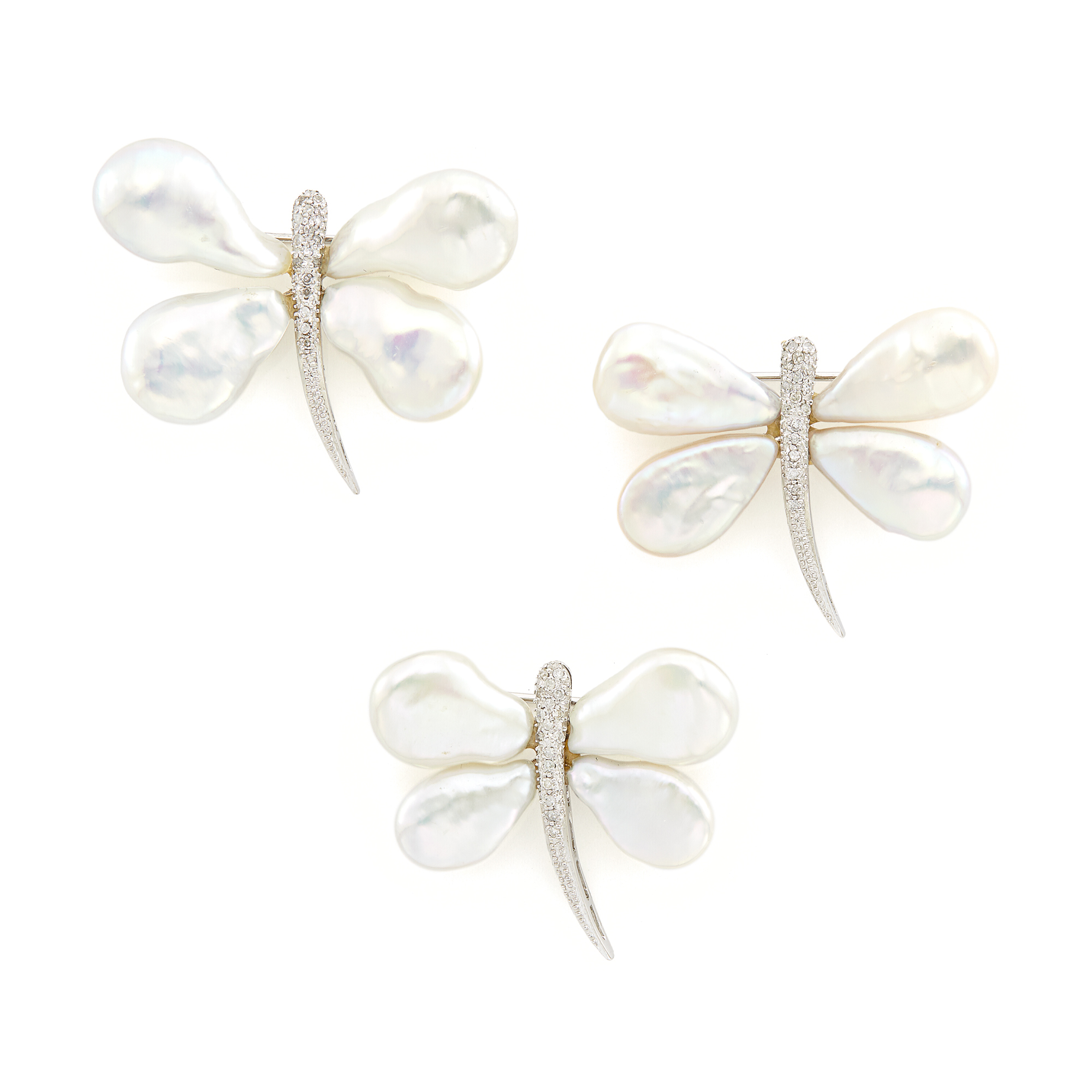Lot image - Three White Gold, Freshwater Pearl and Diamond Dragonfly Pins
