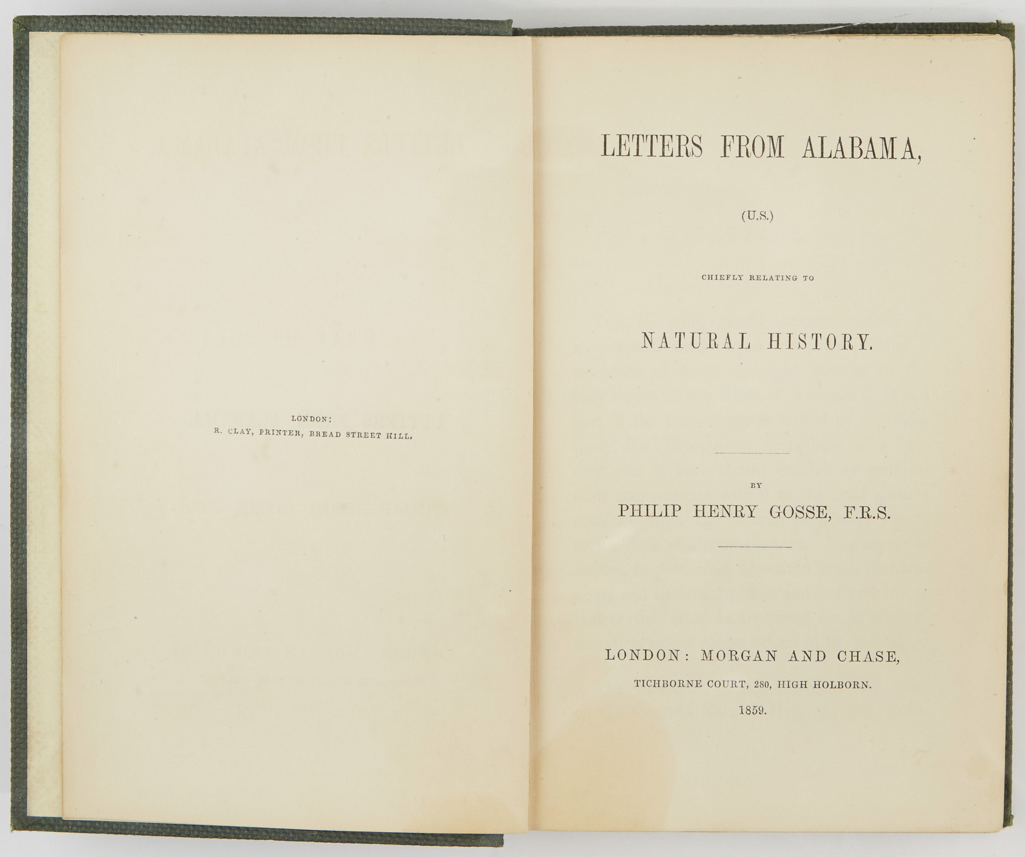 Lot image - [ALABAMA]  GOSSE, PHILIP HENRY. Letters from Alabama, (U.S.) chiefly relating to Natural History.