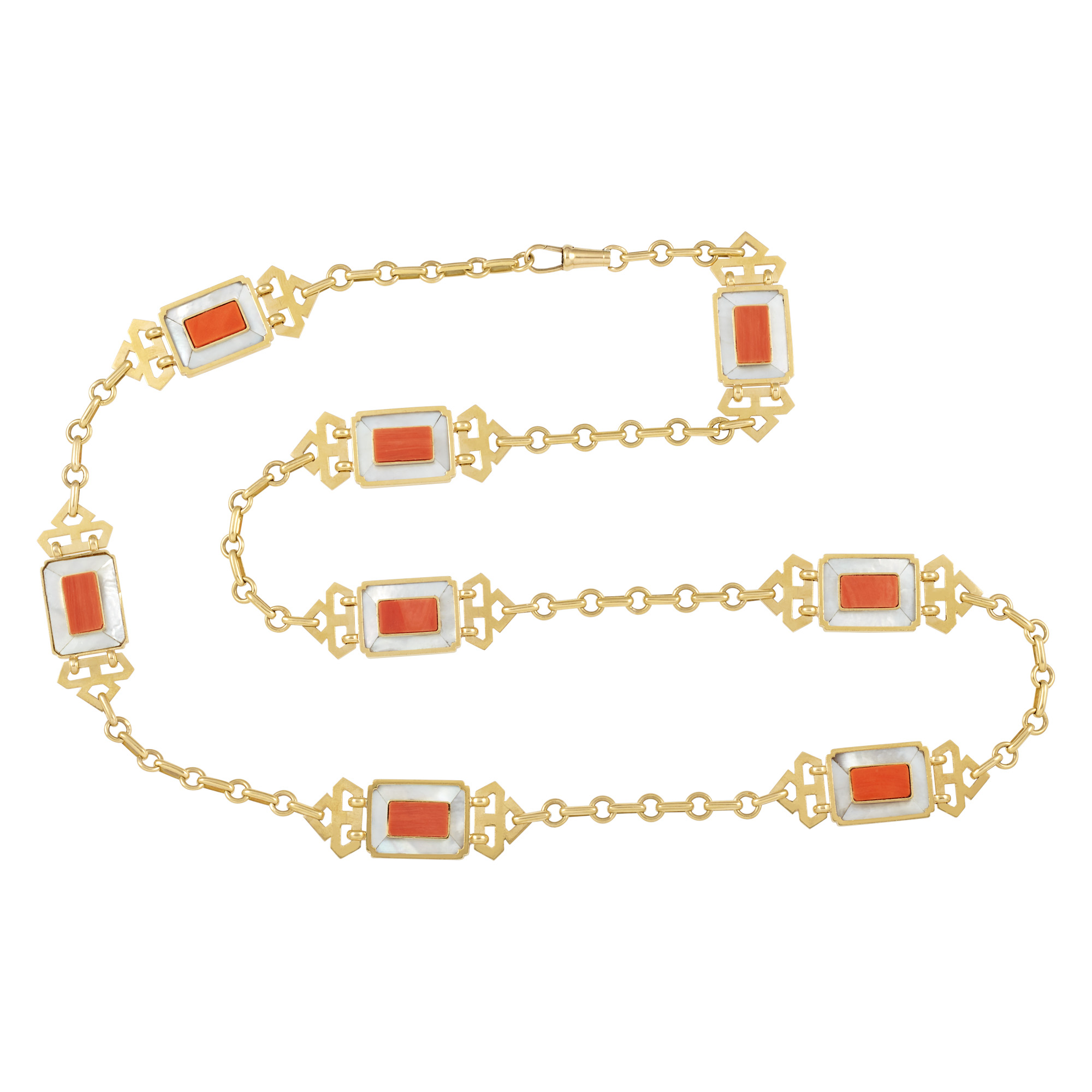 Lot image - Long Gold, Mother-of-Pearl and Coral Fancy Link Chain Necklace, Cartier