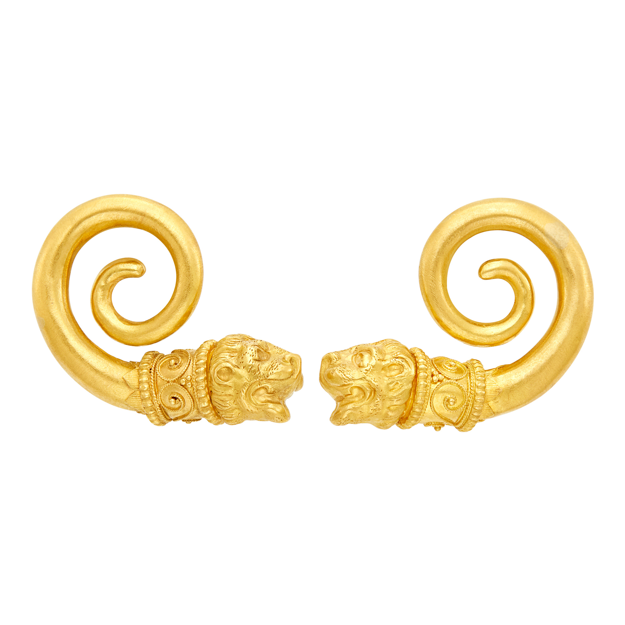 Lot image - Pair of Gold Chimera Earclips