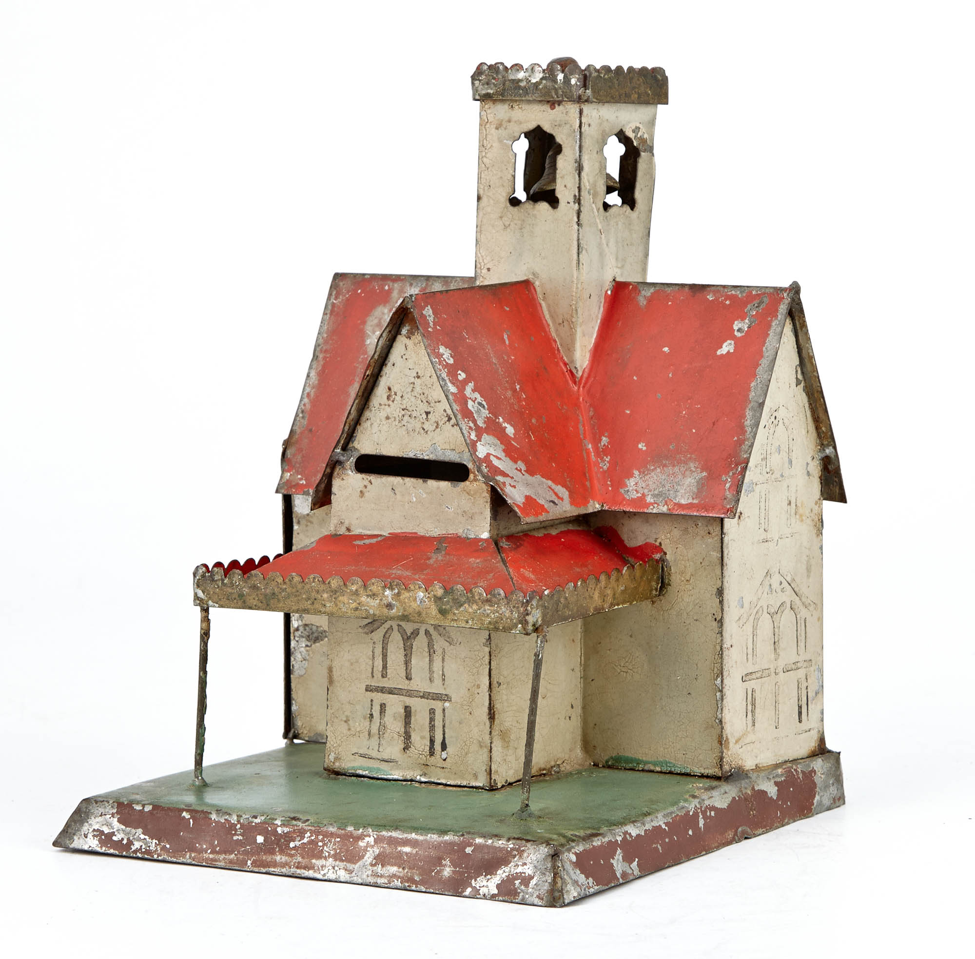 Lot image - Architectural Still Bank with Large Bell Tower Tin Toy