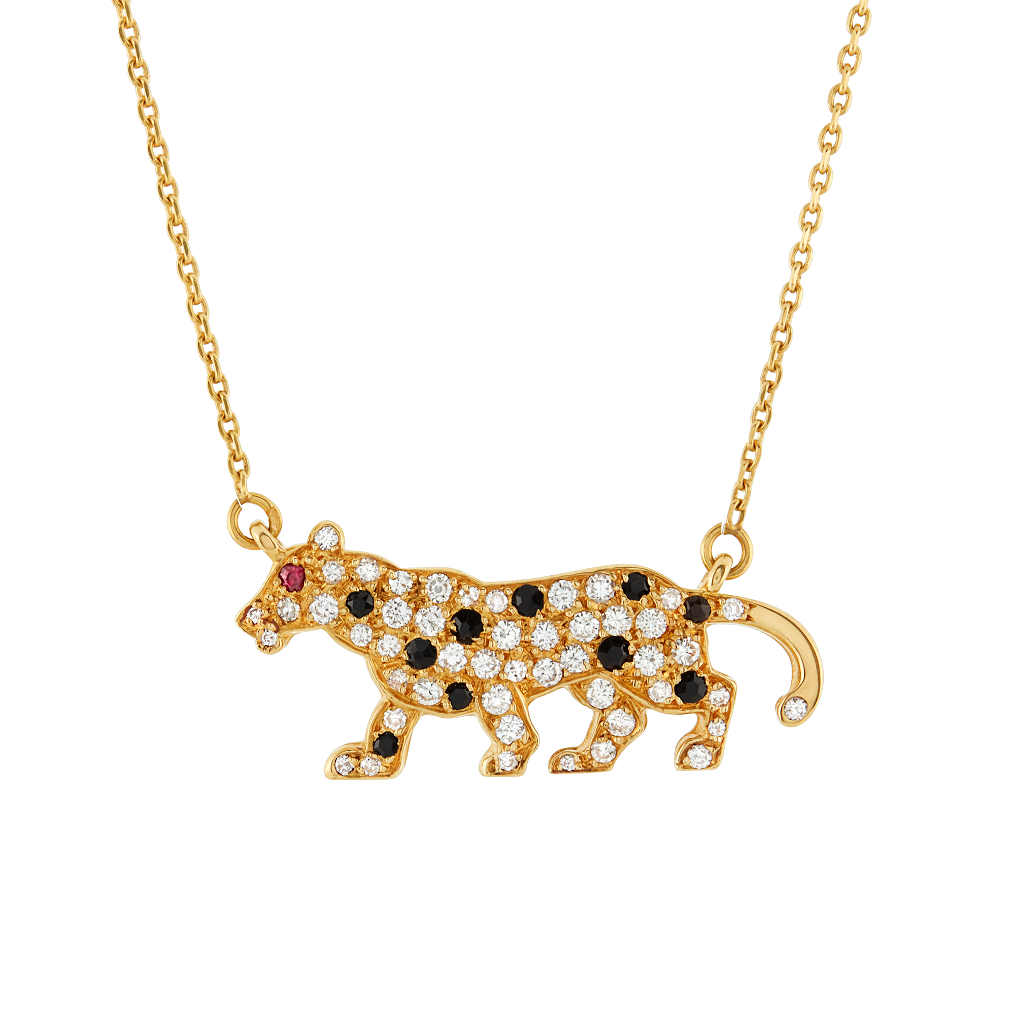 Lot image - Gold, Black Onyx and Diamond Panther Pendant and Chain