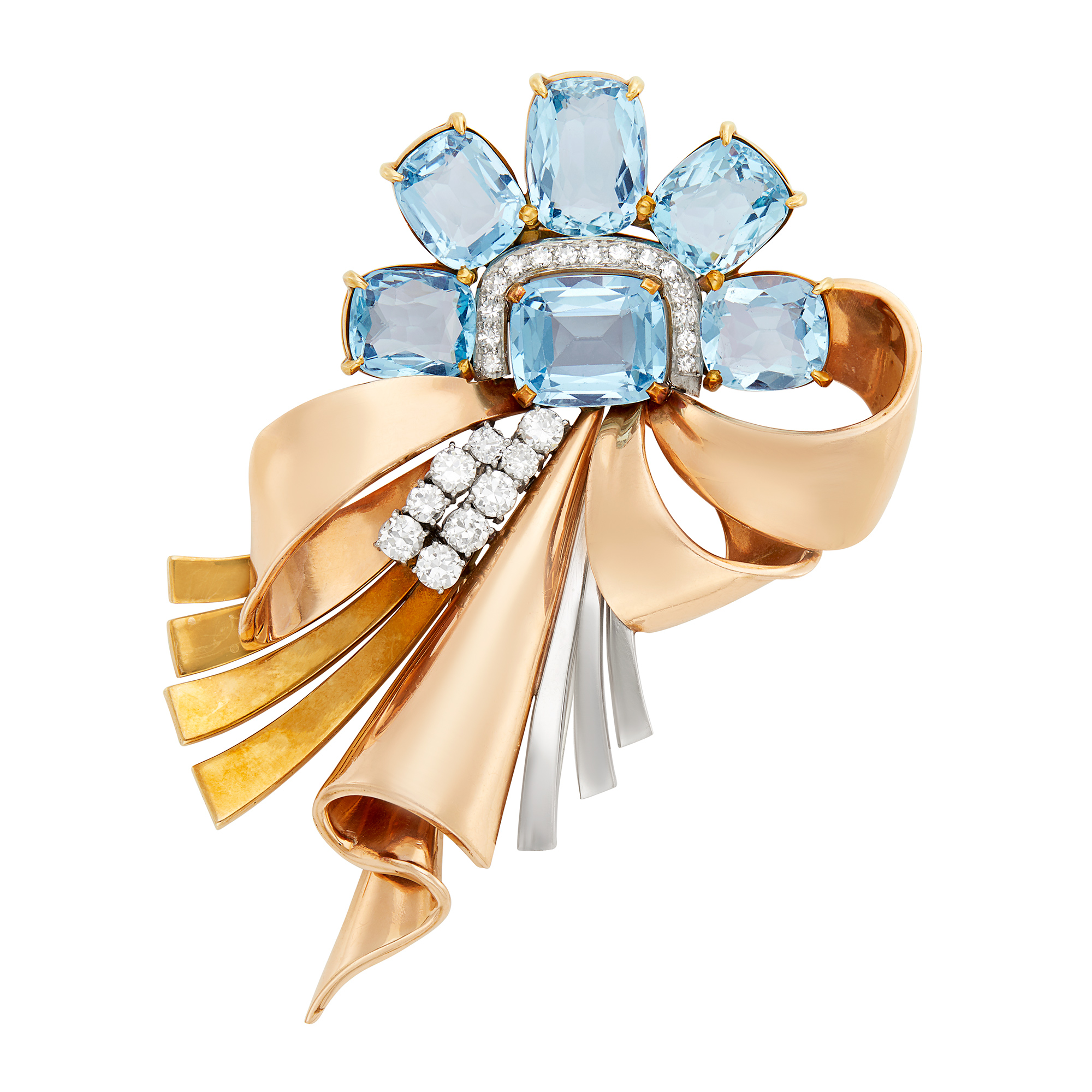 Lot image - Two-Color Gold, Platinum, Aquamarine and Diamond Bow Clip-Brooch