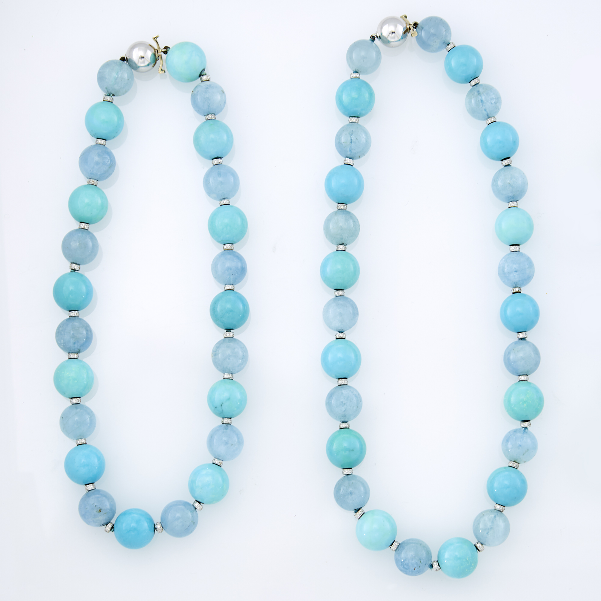 Lot image - Two White Gold, Turquoise and Aquamarine Bead and Diamond Necklaces