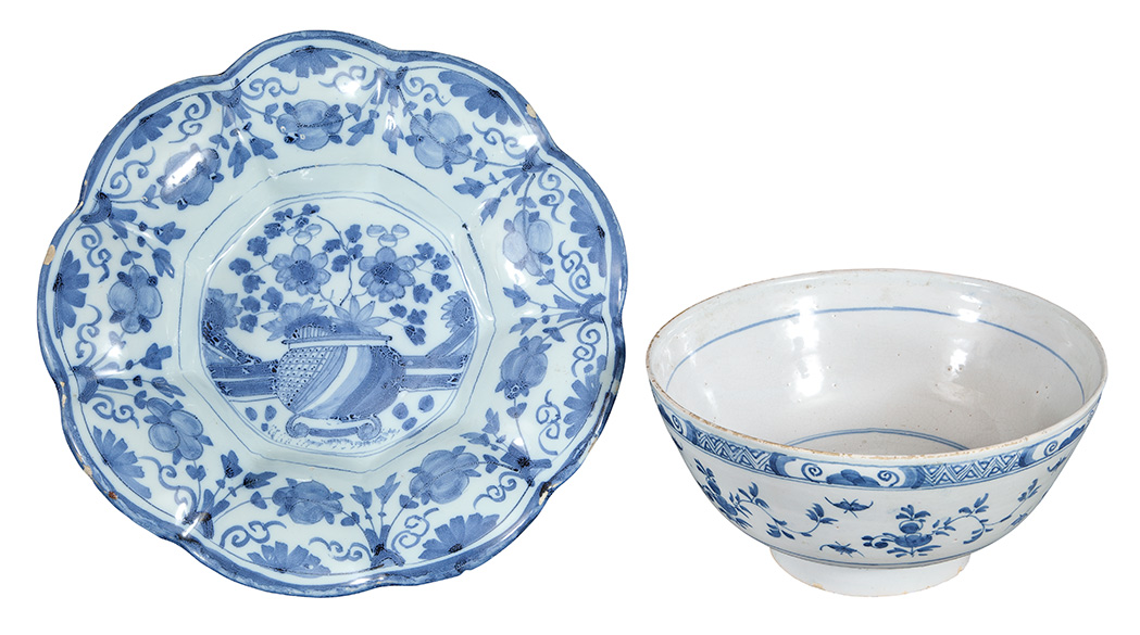 Lot image - English Delft Blue and White Dish; Together with a English Delft Punch Bowl