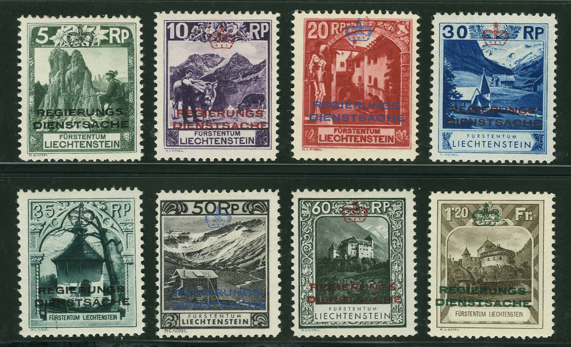 Lot image - Liechtenstein Officials 1932 Set of Eight Scott O1-O8