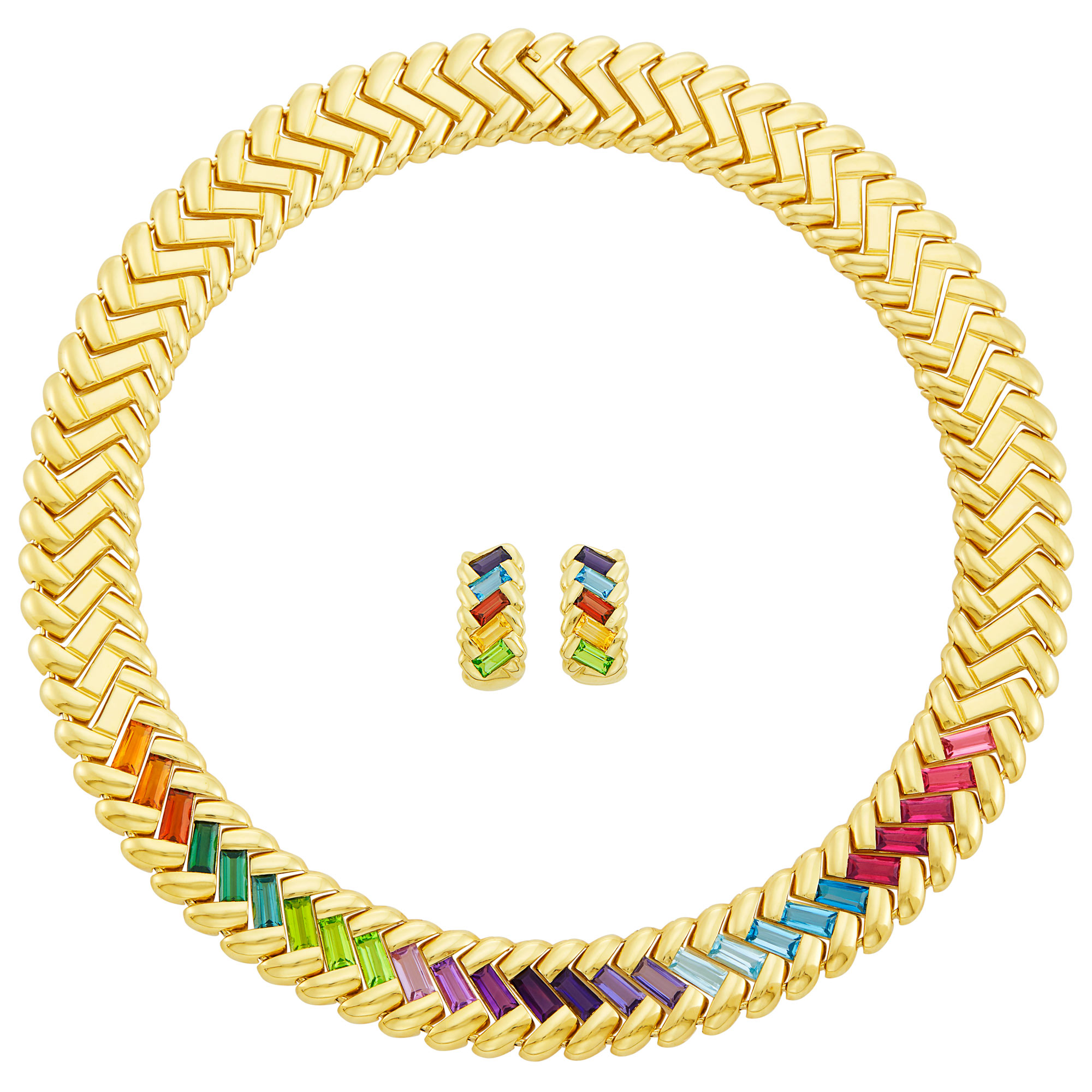 Lot image - Gold and Gem-Set Necklace and Pair of Hoop Earclips, Attributed to H. Stern