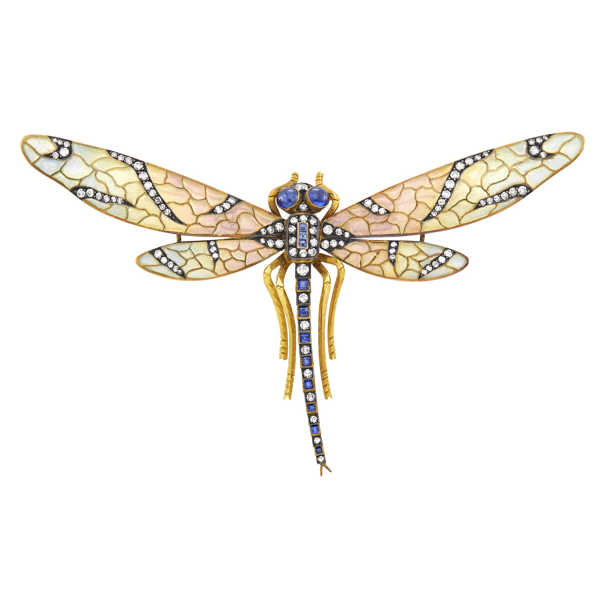 Lot image - Gold, Silver, Plique-à-Jour Enamel, Sapphire and Diamond Dragonfly Brooch