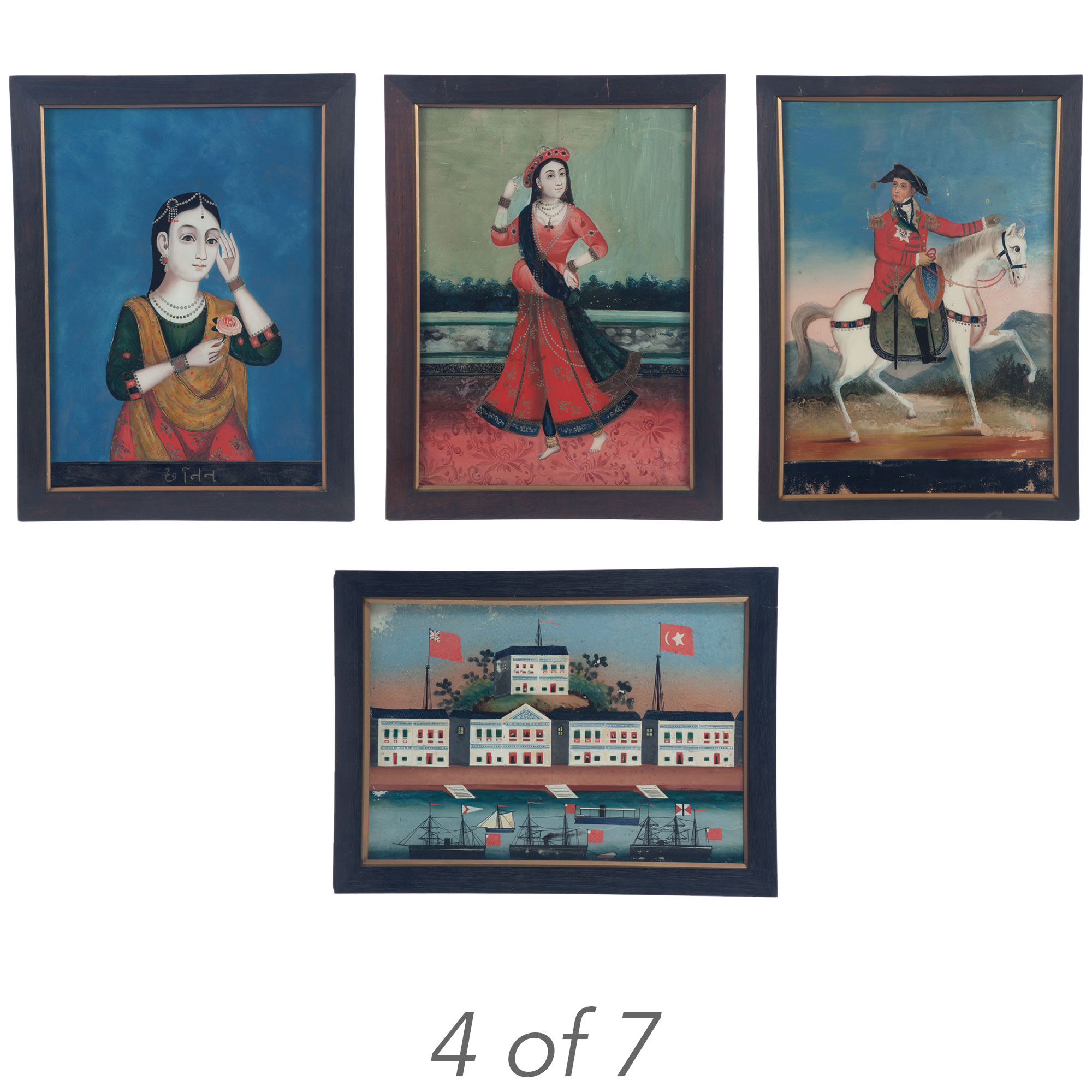 Lot image - Group of Seven Indian Reverse Paintings on Glass