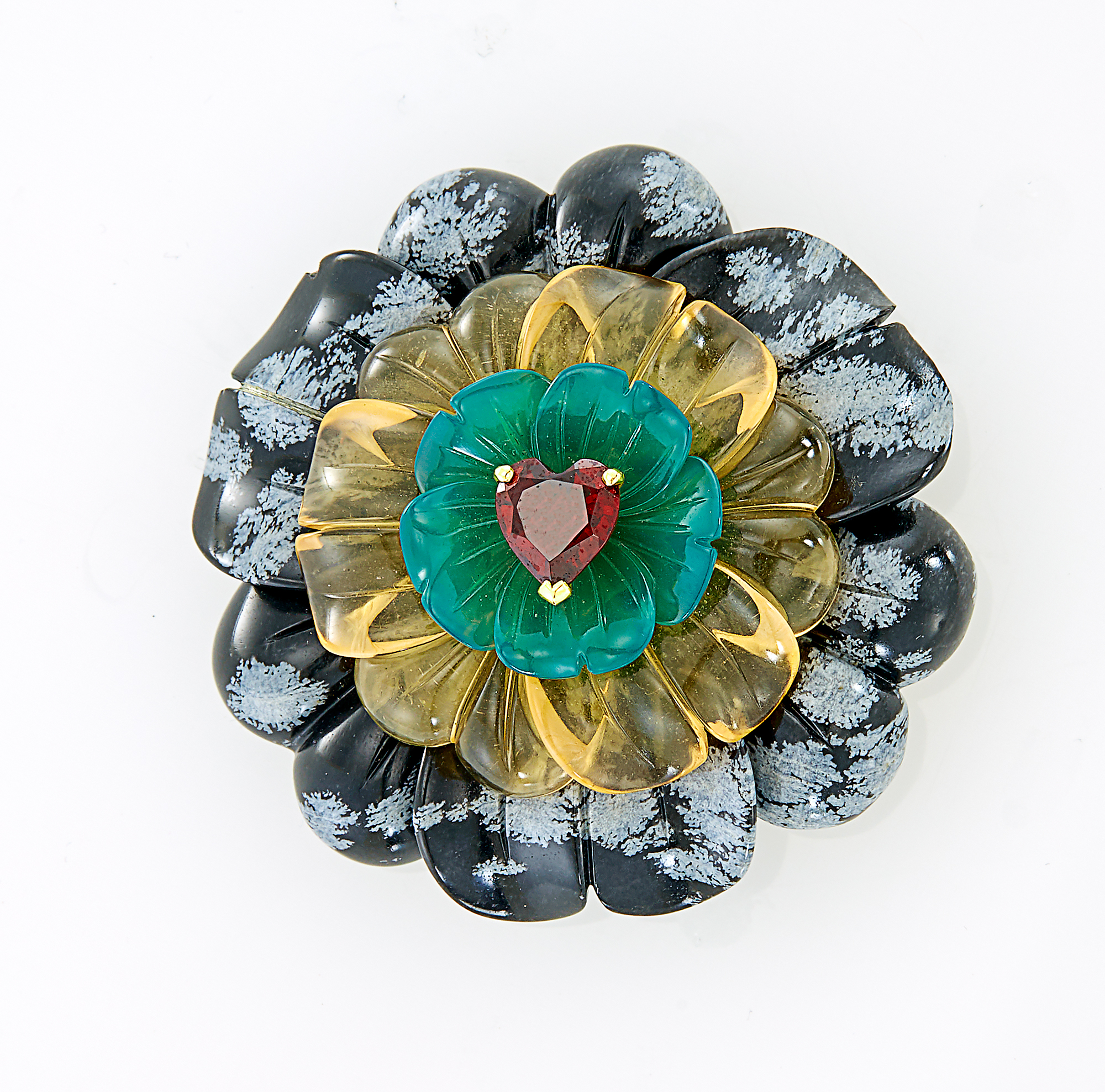 Lot image - Capello Gold, Carved Snowflake Obsidian, Citrine, Green Onyx and Garnet Flower Clip-Brooch