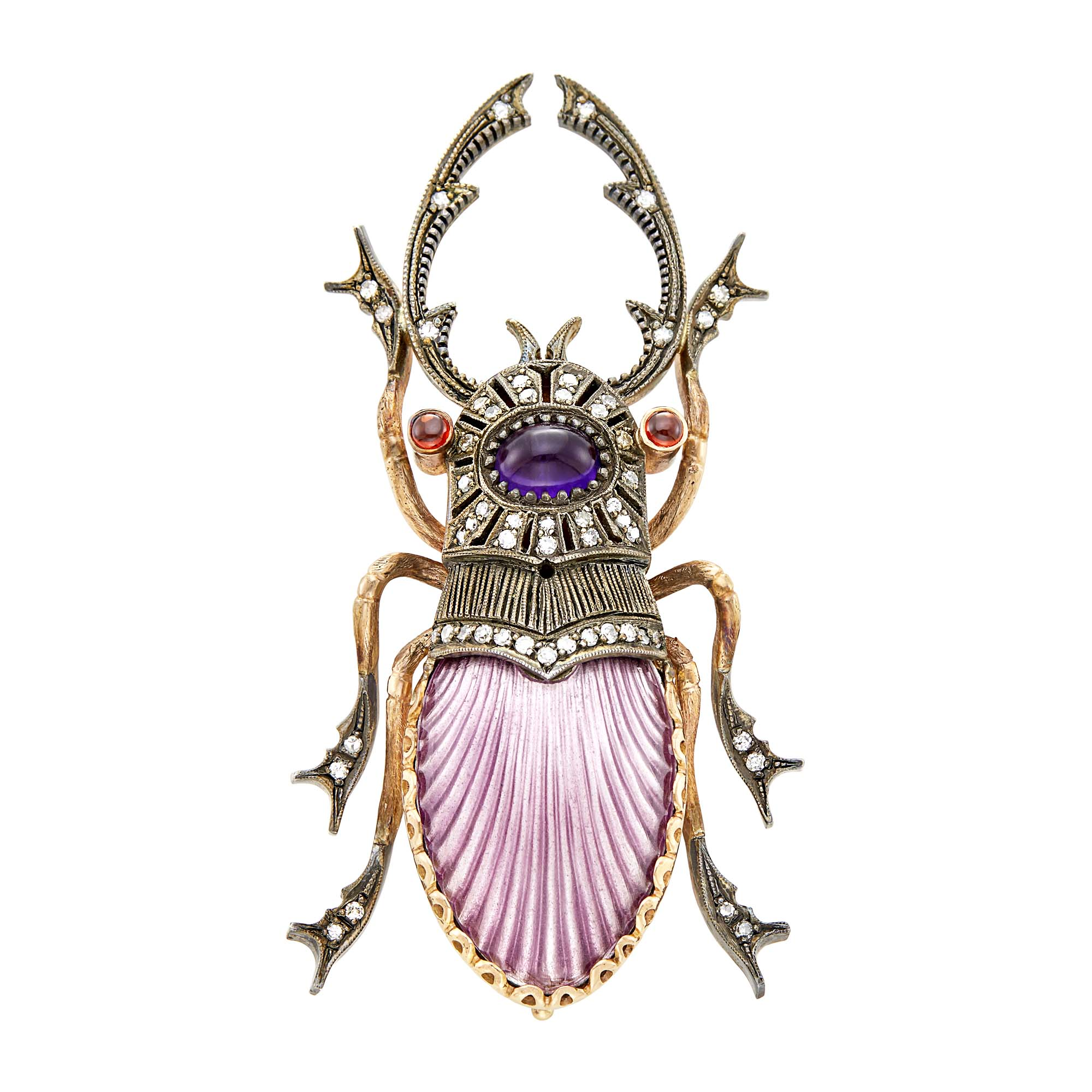 Lot image - Rose Gold, Silver, Guilloché Enamel, Cabochon Gem-Set and Diamond Insect Brooch