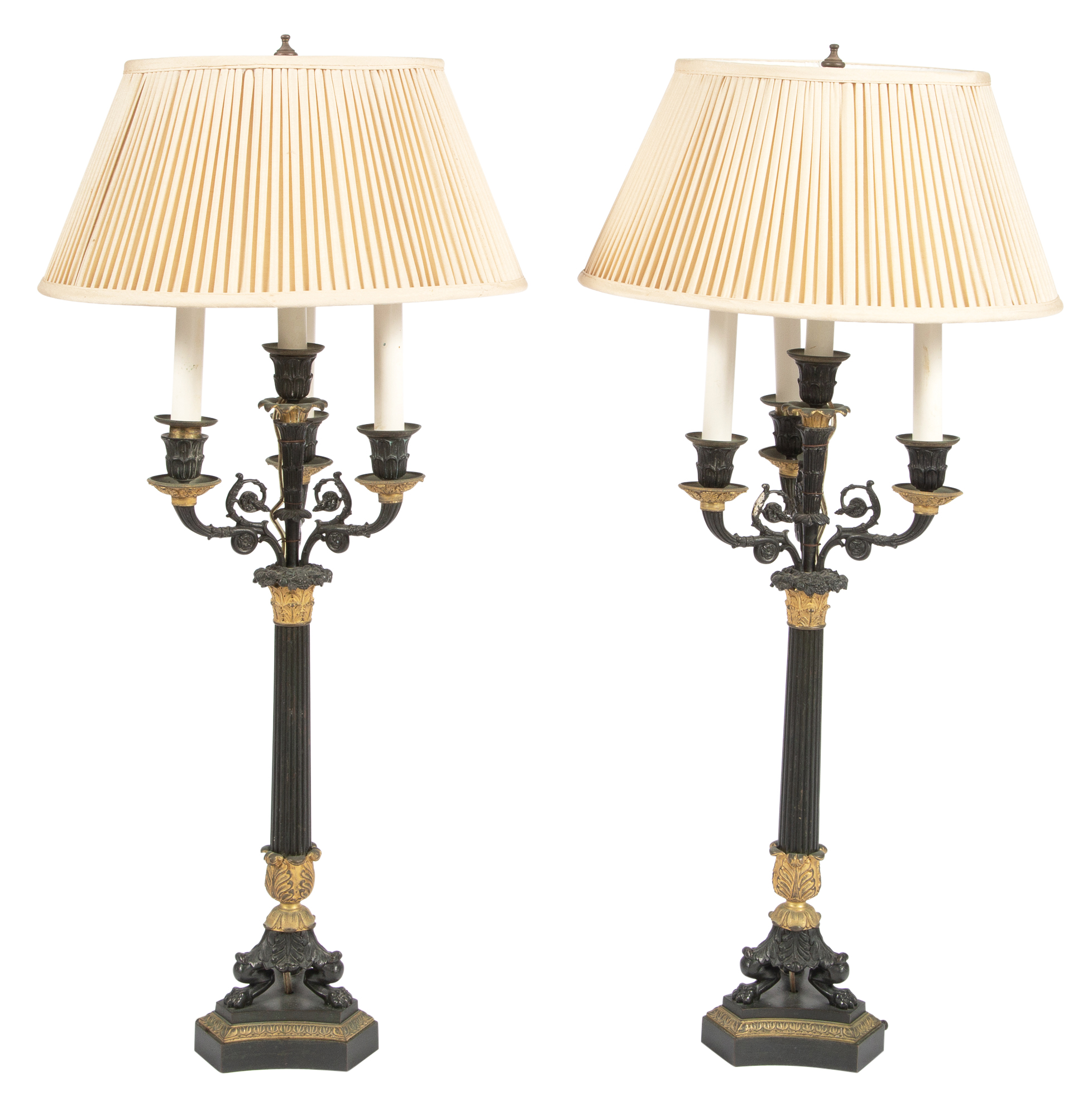 Lot image - Pair of Charles X Gilt and Patinated-Bronze Four-Light Candelabra