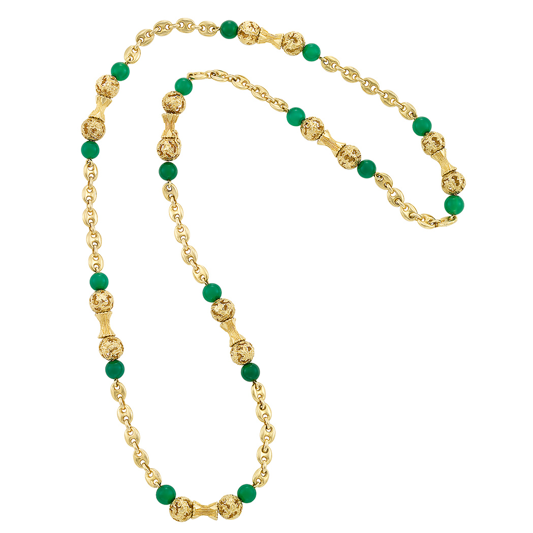 Lot image - Gold and Green Onyx Chain Necklace, Van Cleef & Arpels, France