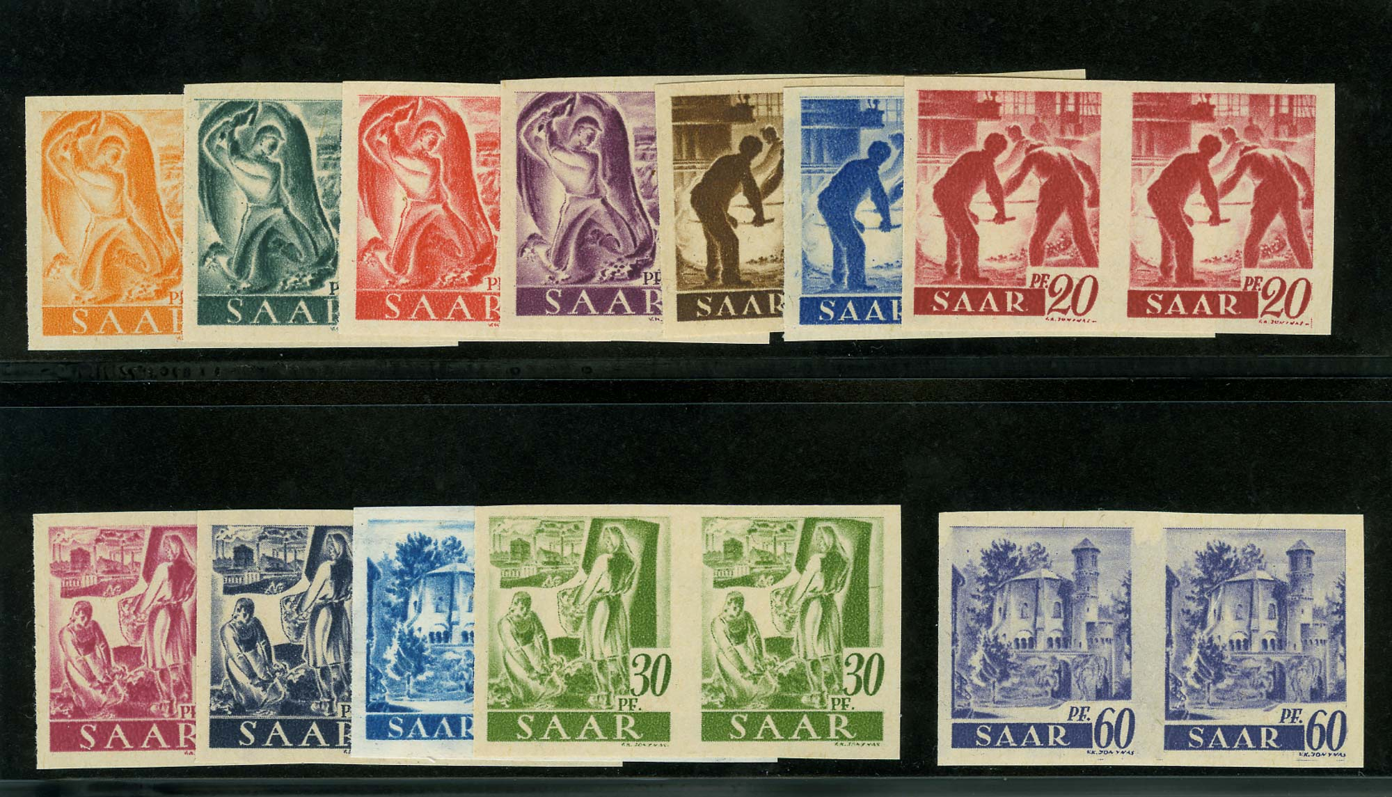 Lot image - Saar 1947 Pictorial Imperforate Pairs