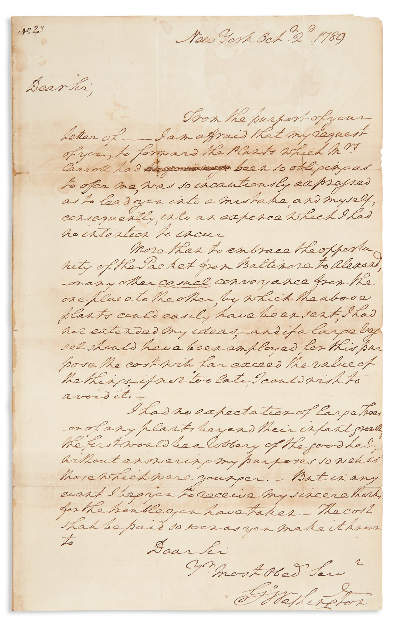 Lot image - WASHINGTON, GEORGE  Autograph letter signed as President to Otho Holland Williams regarding a shipment of Fruit Trees from Mount Clara to Mount Vernon.
