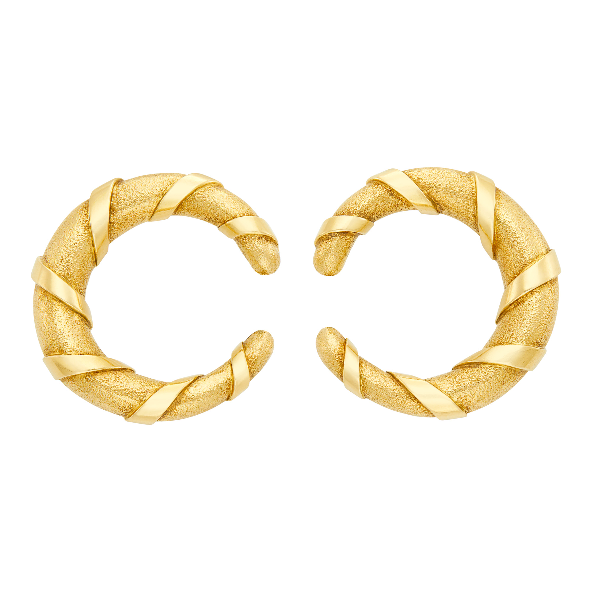 Lot image - Cartier Paris Pair of Gold Hoop Earclips