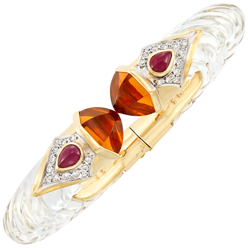 Lot image - Gold, Fluted Rock Crystal, Citrine, Diamond and Cabochon Ruby Bangle Bracelet, Maz