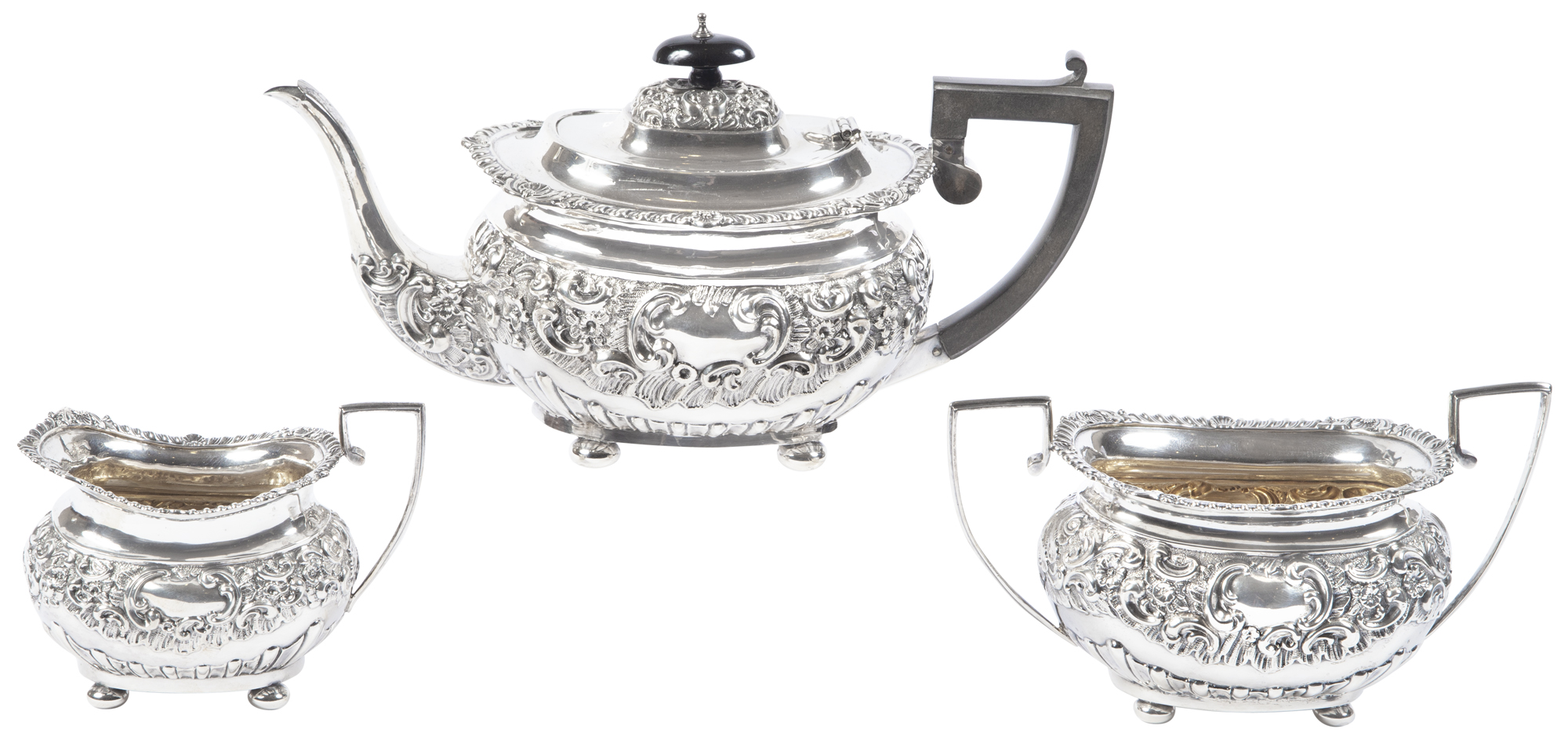 Lot image - English Sterling Silver Tea Service