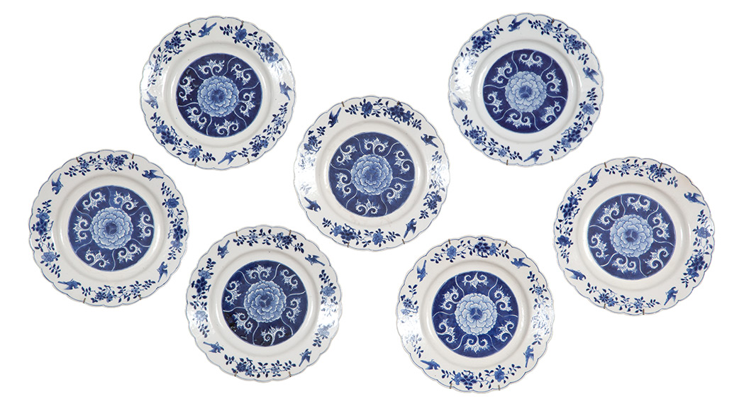 Lot image - Set of Seven Chinese Blue and White Porcelain Plates