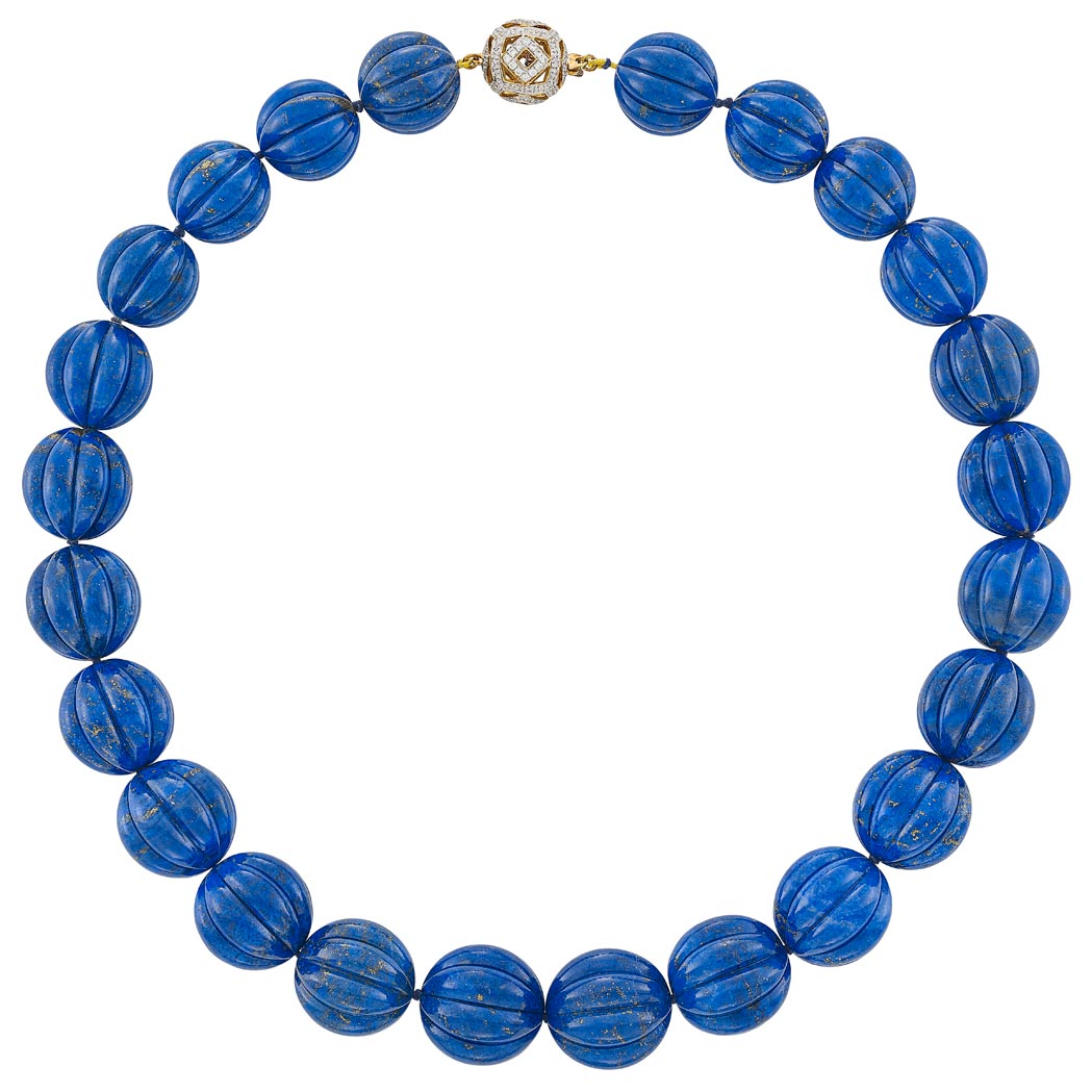 Lot image - Fluted Lapis Bead Necklace