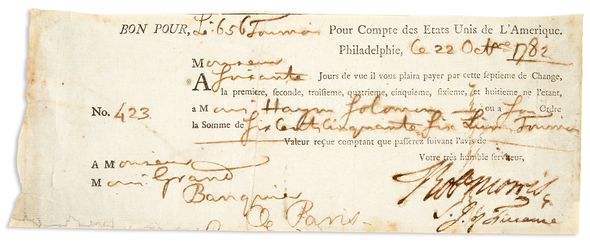Lot image - SALOMON, HAYM  Endorsing signature on check signed by Robert Morris (Signer from Pennsylvania).
