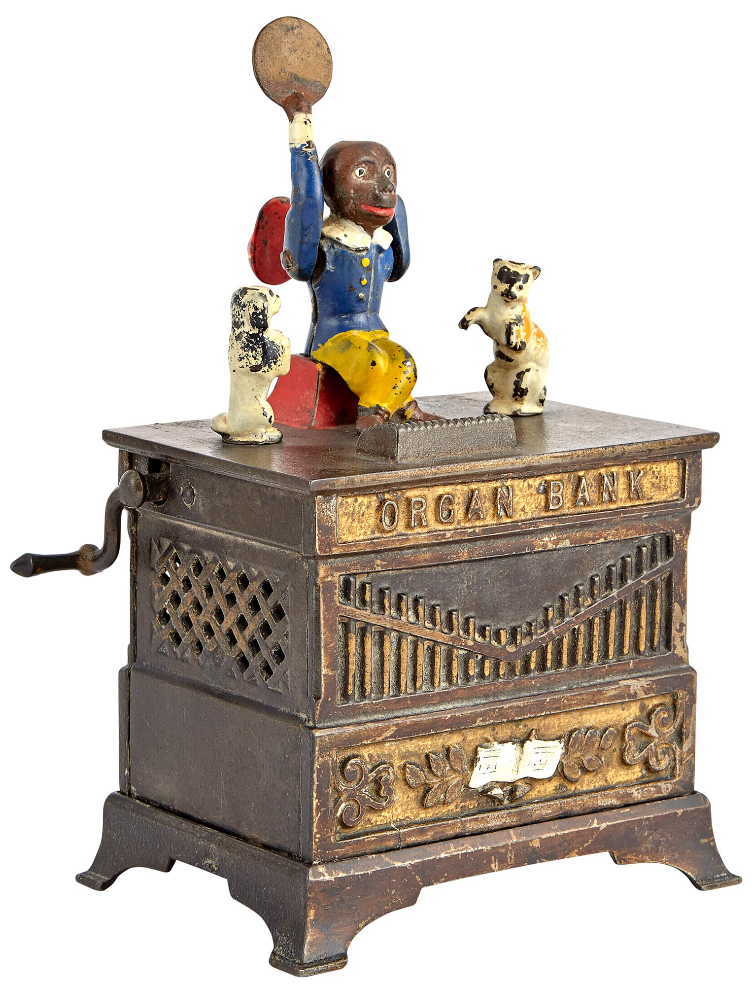 Lot image - Organ Bank with Cat and Dog Cast Iron Mechanical Bank