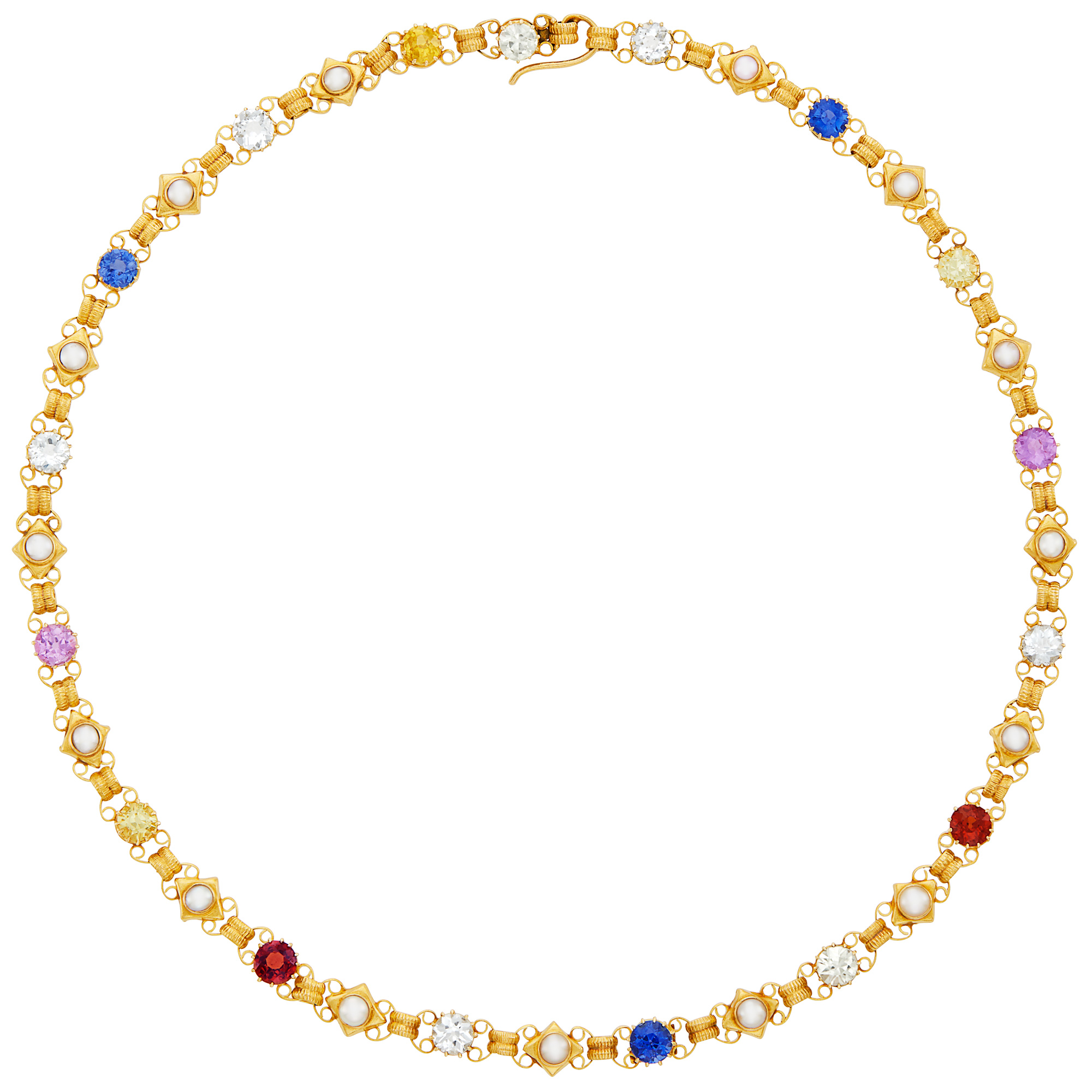 Lot image - Antique Gold, Colored Stone and Split Pearl Necklace, Attributed to Phillips of Cockspur