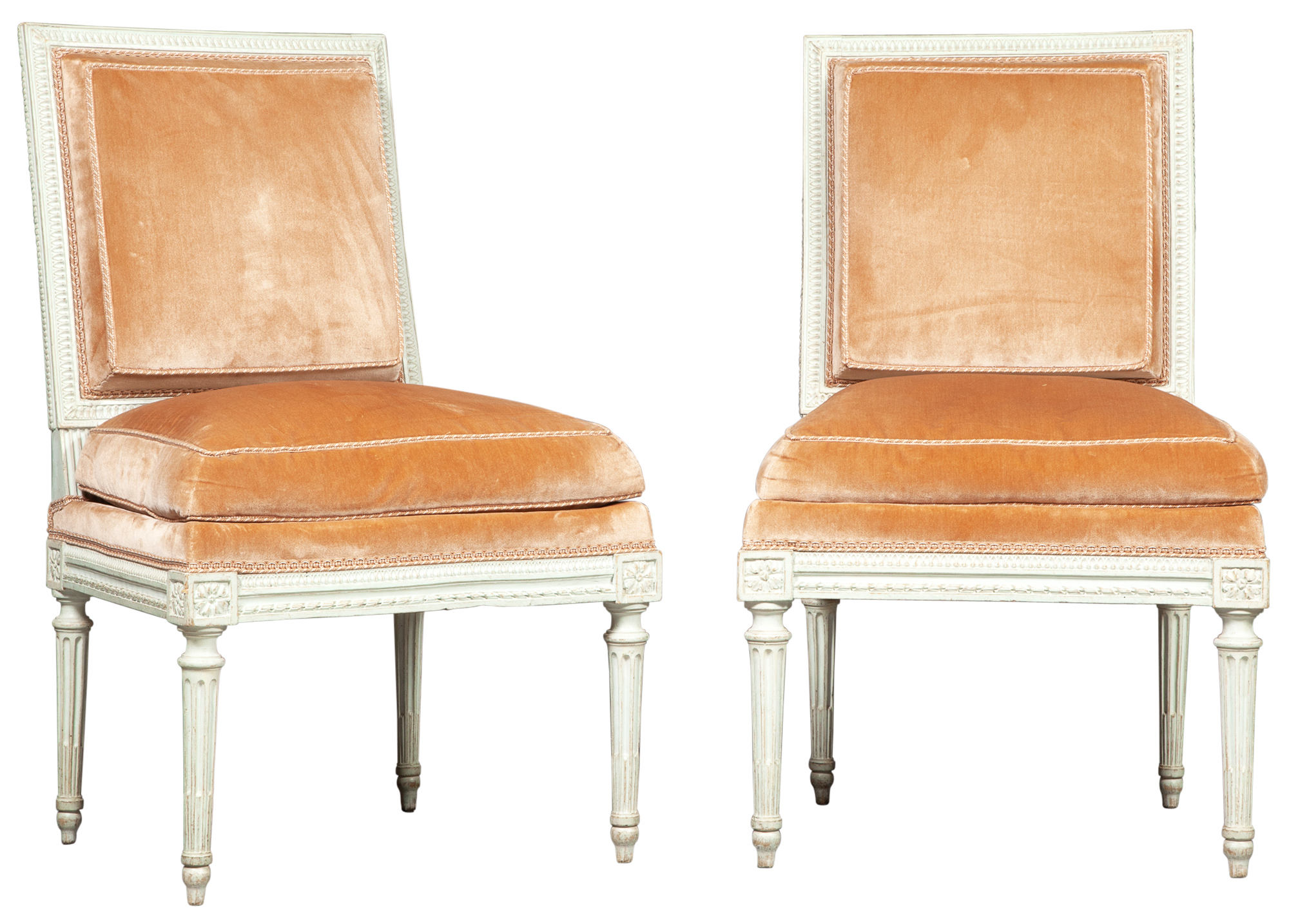 Lot image - Pair of Louis XVI Painted and Velvet-Upholstered Side Chairs by Georges Jacob