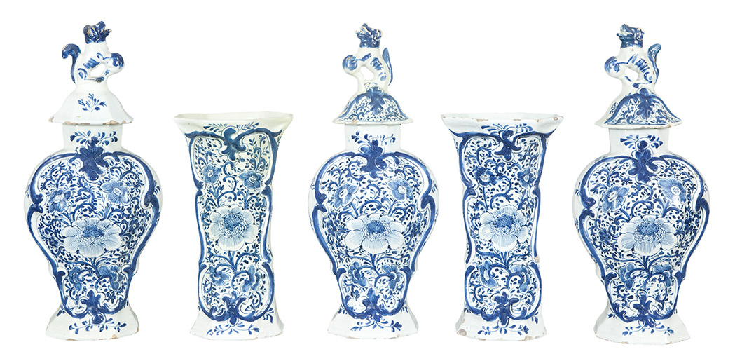 Lot image - Dutch Delft Five-Piece Garniture