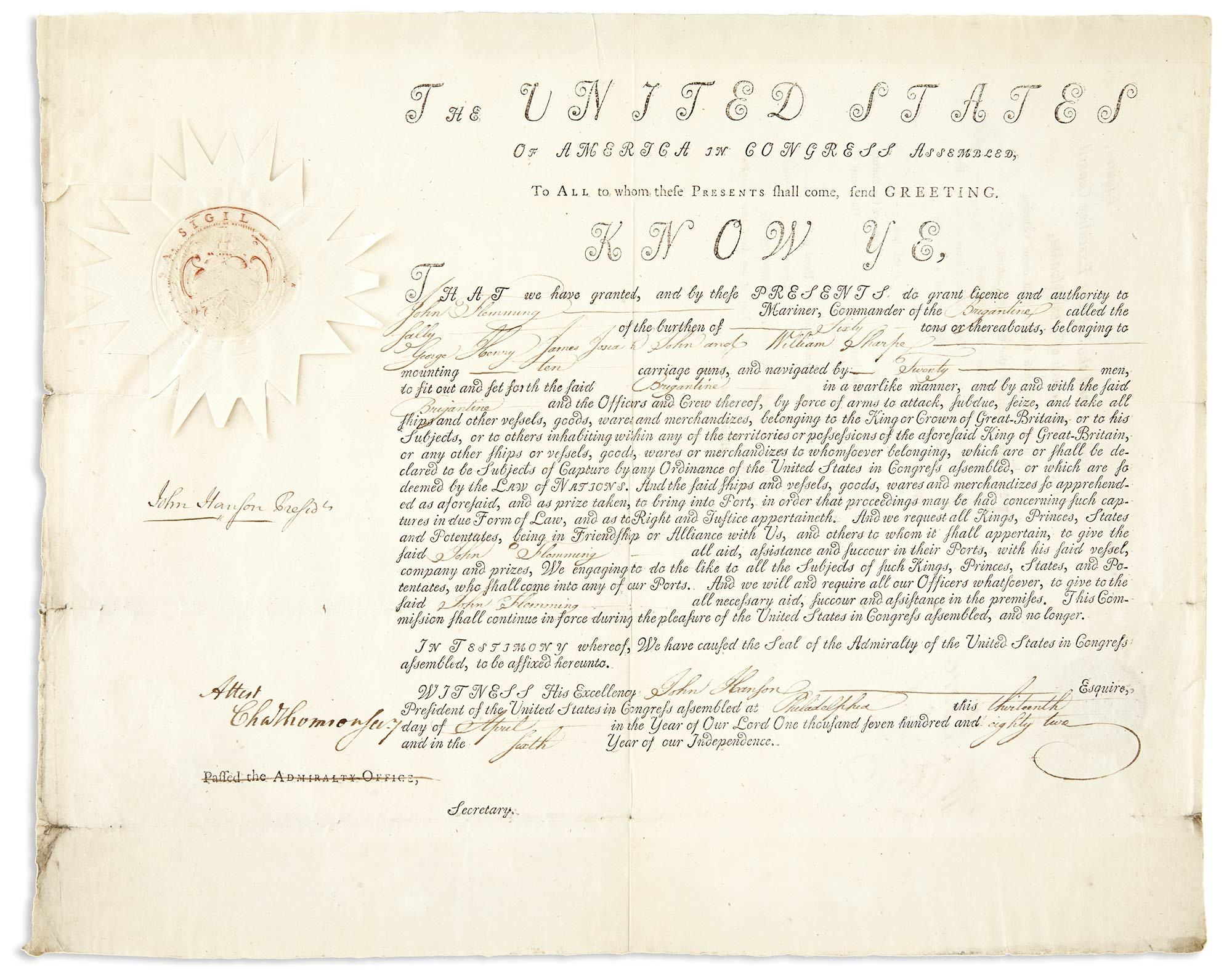 Lot image - HANSON, JOHN  Document signed as President of the United States in Congress Assembled.