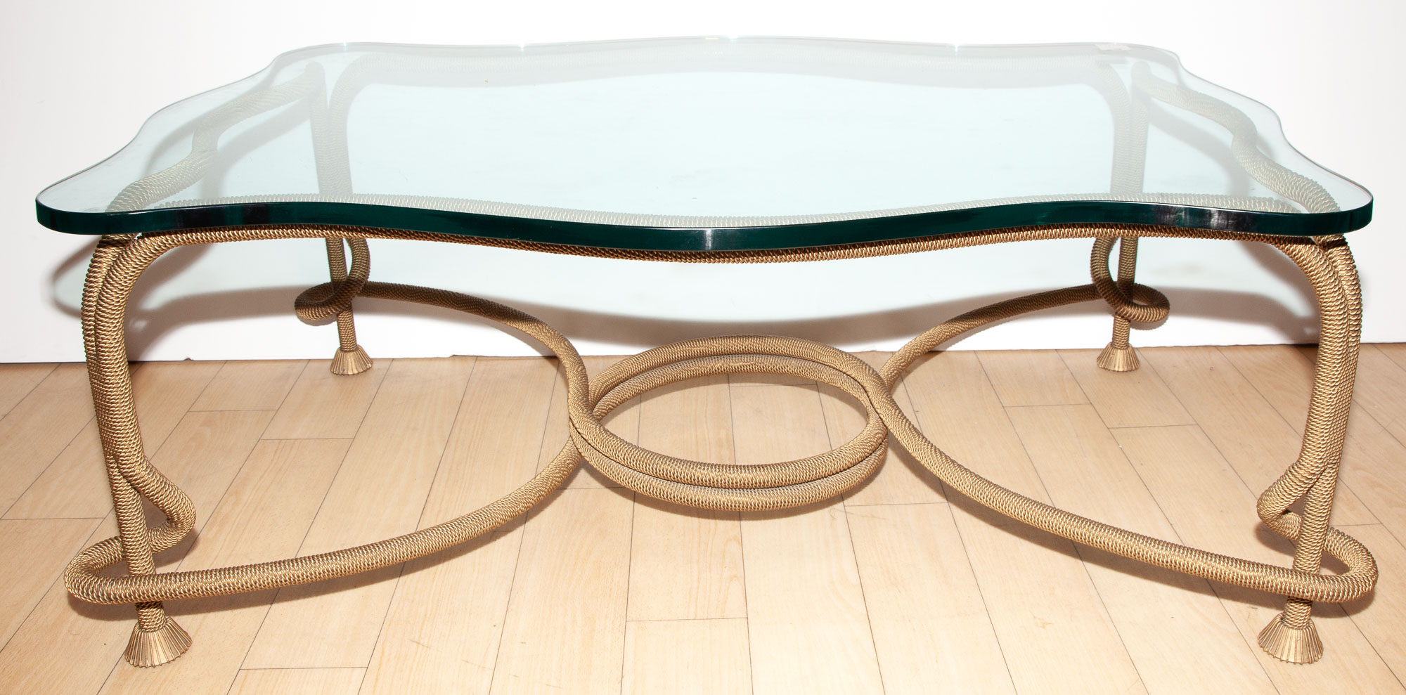 Lot image - Gilt-Metal and Glass Table with Rope-Form Base