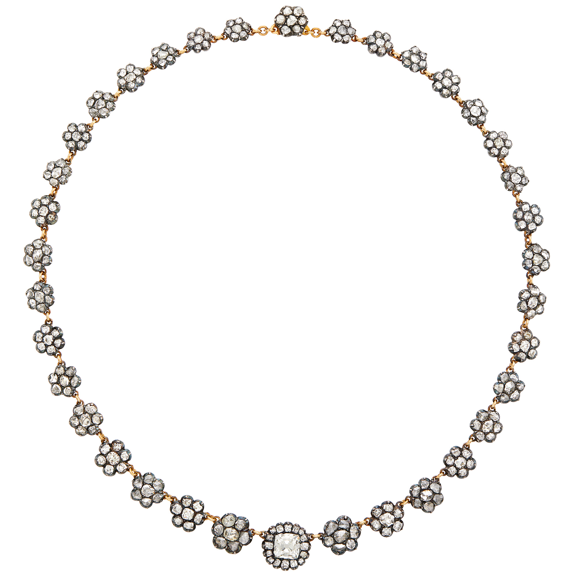 Lot image - Silver, Gold and Diamond Floret Necklace
