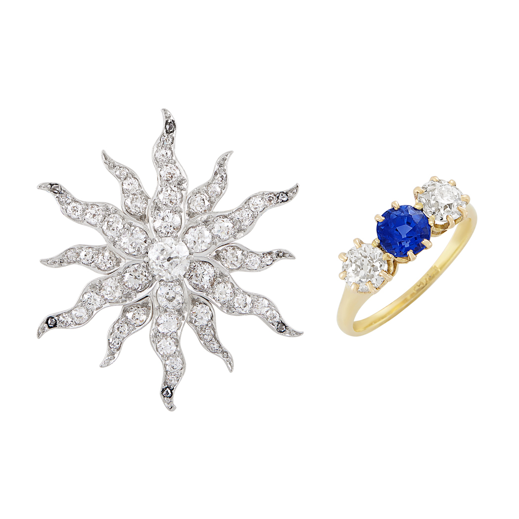 Lot image - Antique Platinum-Topped Gold and Diamond Starburst Pin and Antique Gold, Diamond and Sapphire Ring
