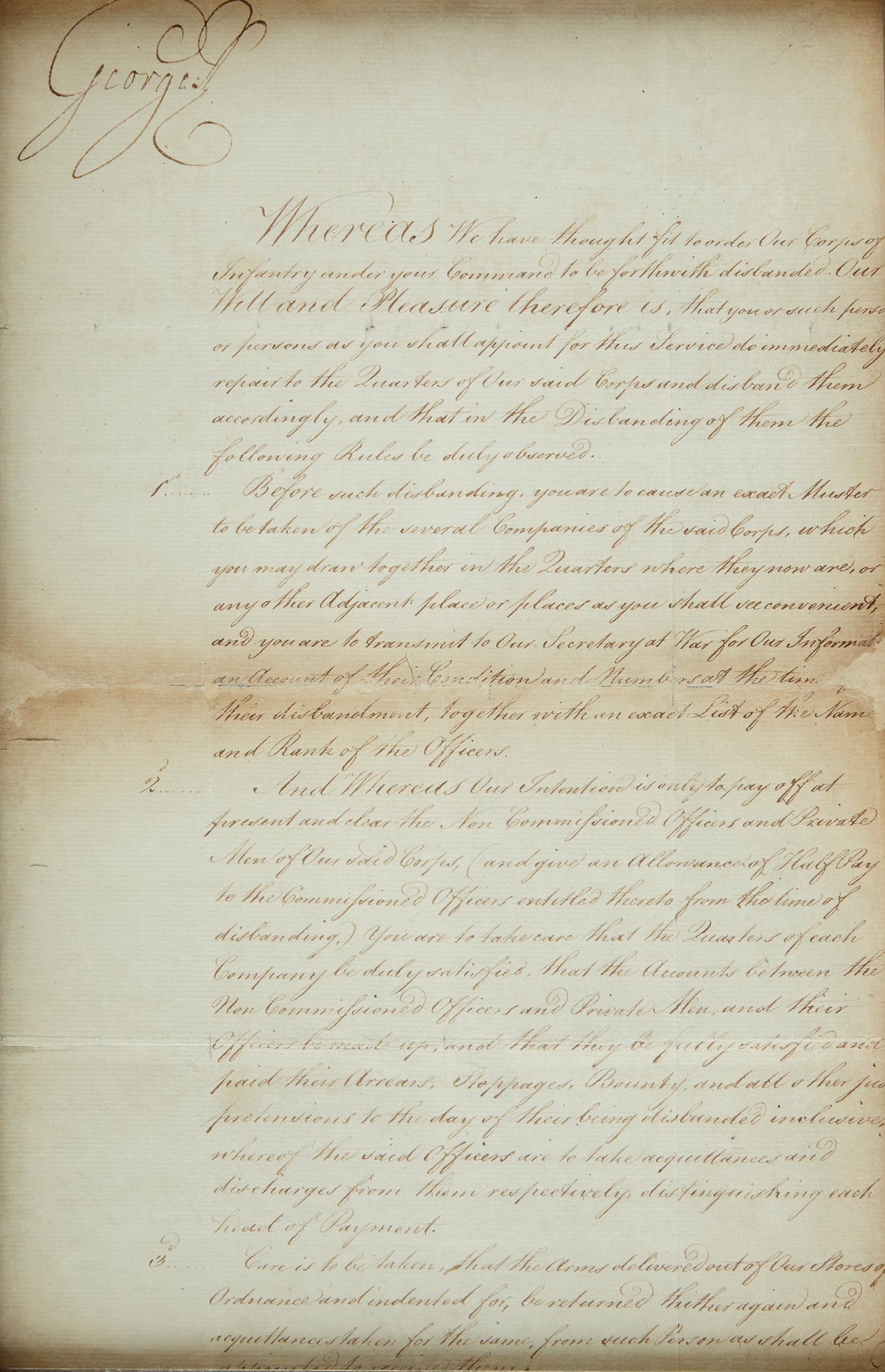 Lot image - KING GEORGE III  Document signed ordering the disbandment of an Infantry Corps.