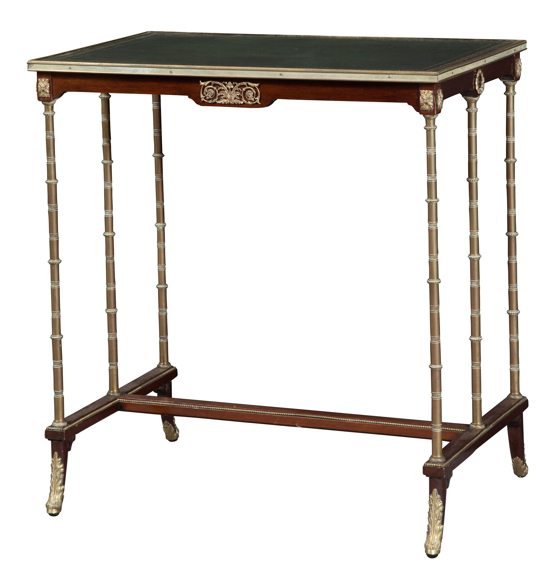 Lot image - Empire Style Mahogany and Brass-Mounted Trestle  Table