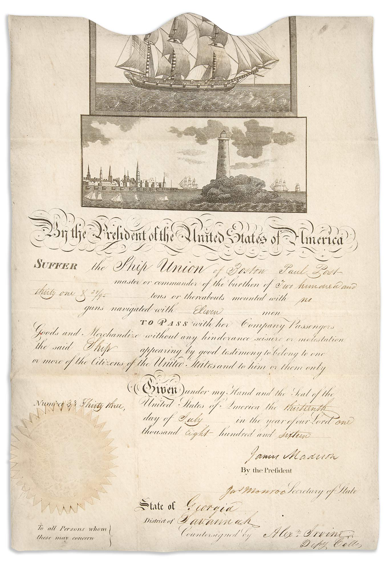 Lot image - MADISON, JAMES  Ships passport signed as President.
