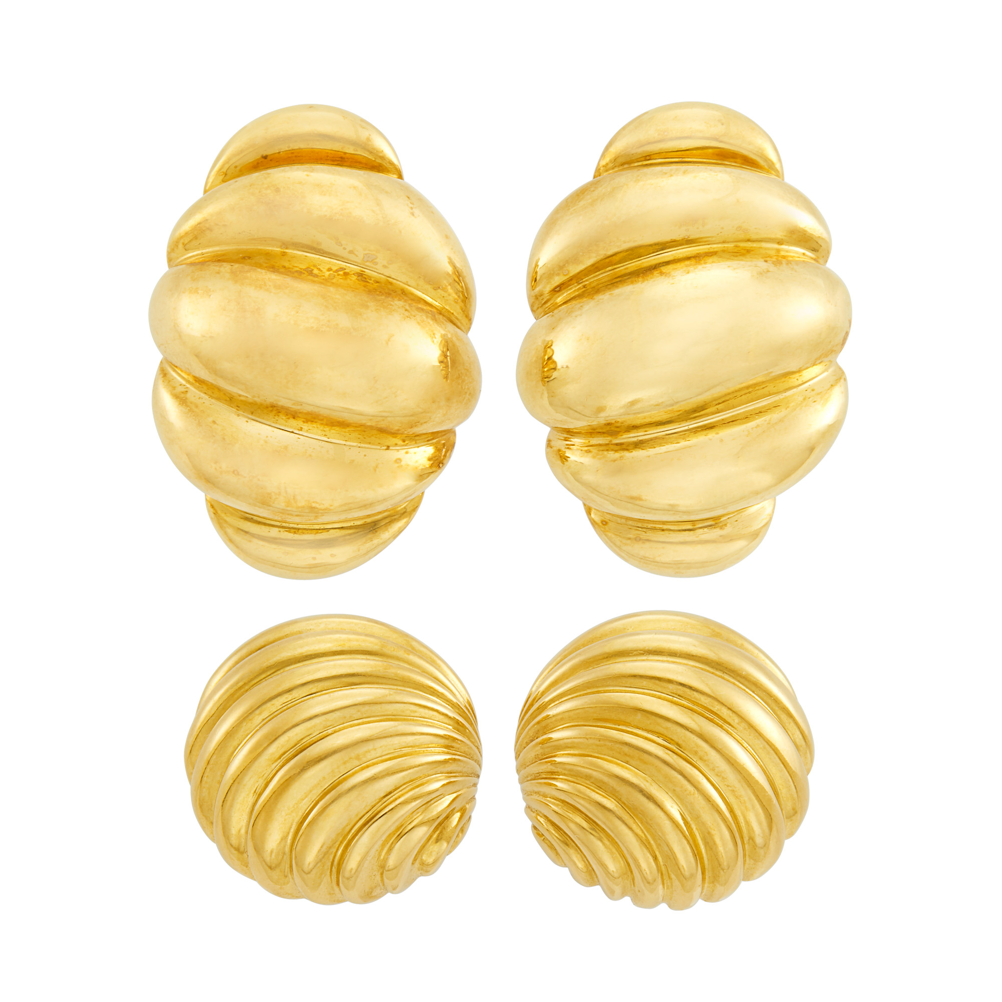 Lot image - Two Pairs of Gold Earrings