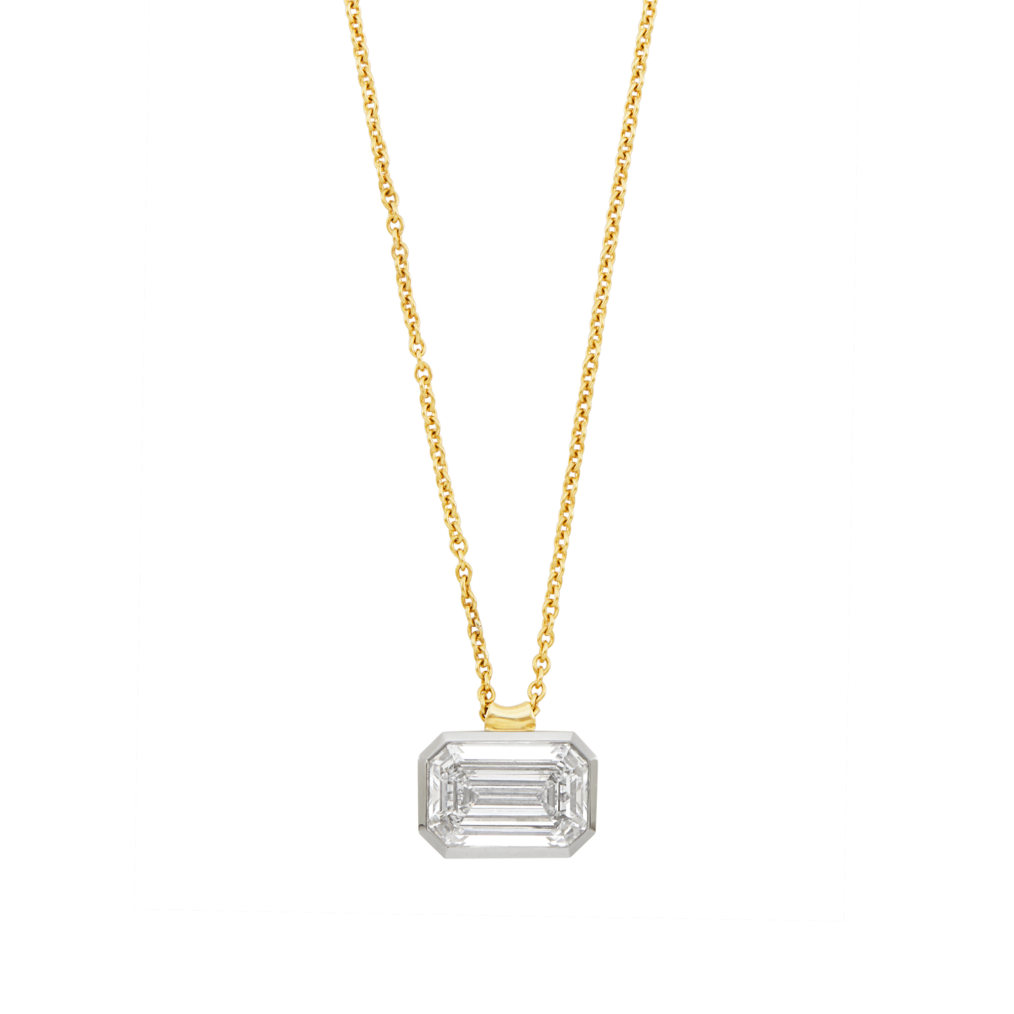 Lot image - Platinum and Diamond Pendant with Gold Chain Necklace, Tiffany & Co.