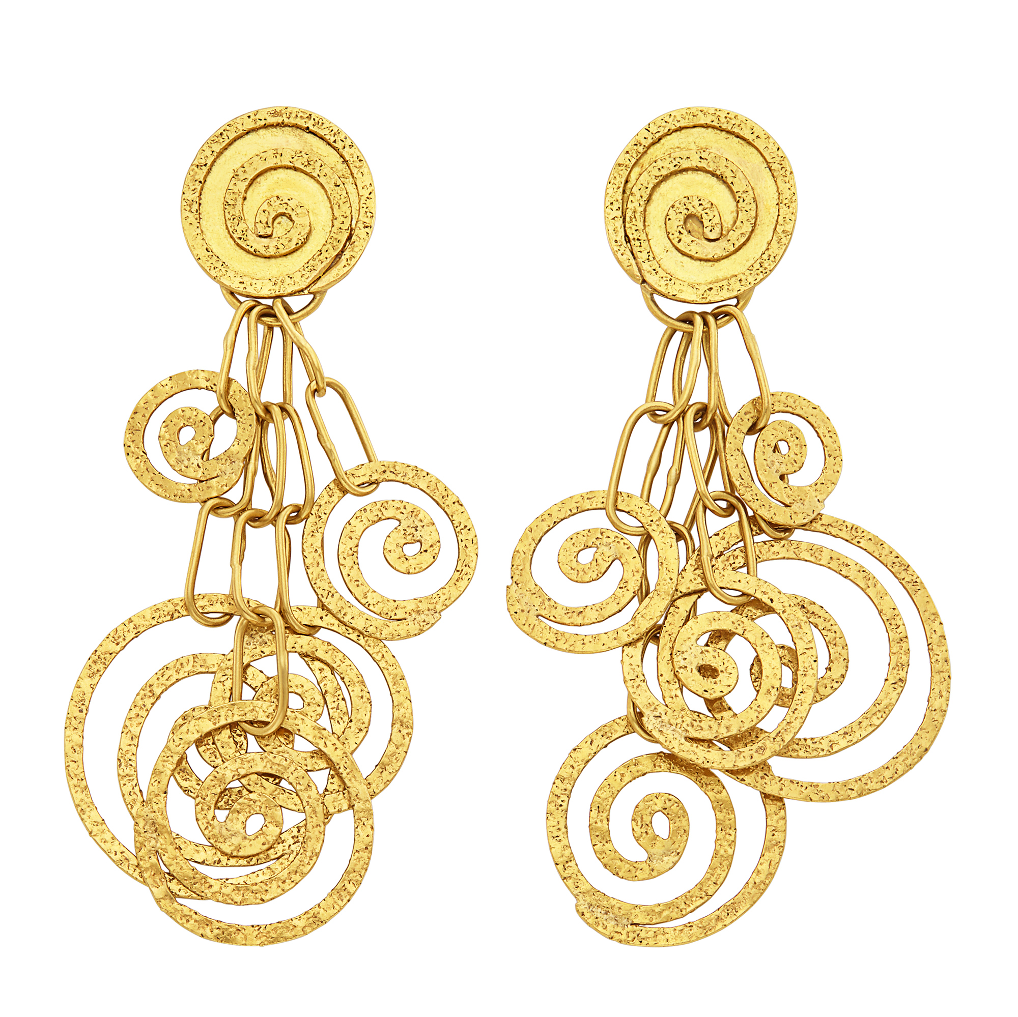 Lot image - Pair of Gold Pendant-Earrings