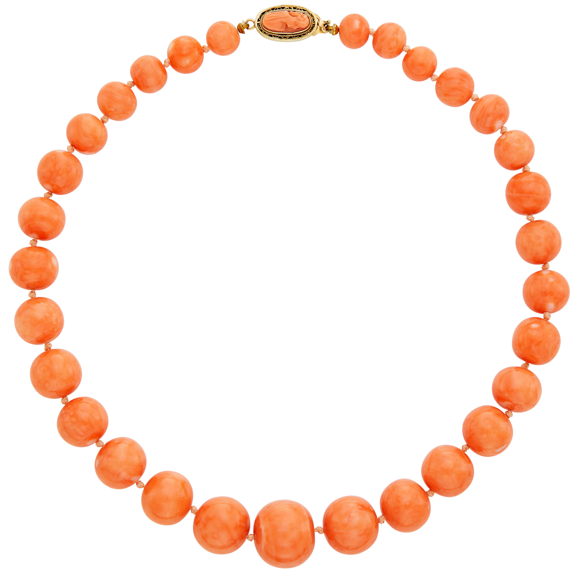 Lot image - Coral Bead Necklace with Gold Clasp