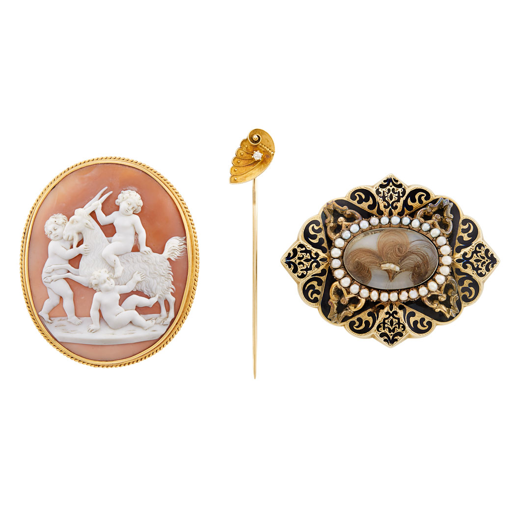 Lot image - Two Antique Pins and Stick Pin