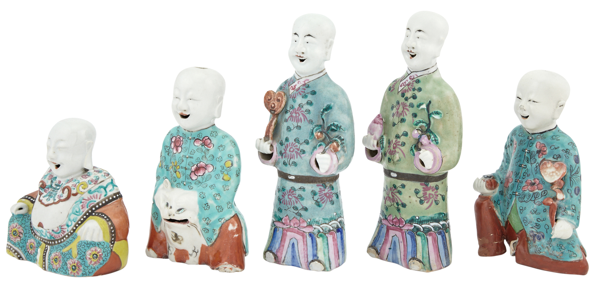 Lot image - Five Chinese Famille Rose Porcelain Figures