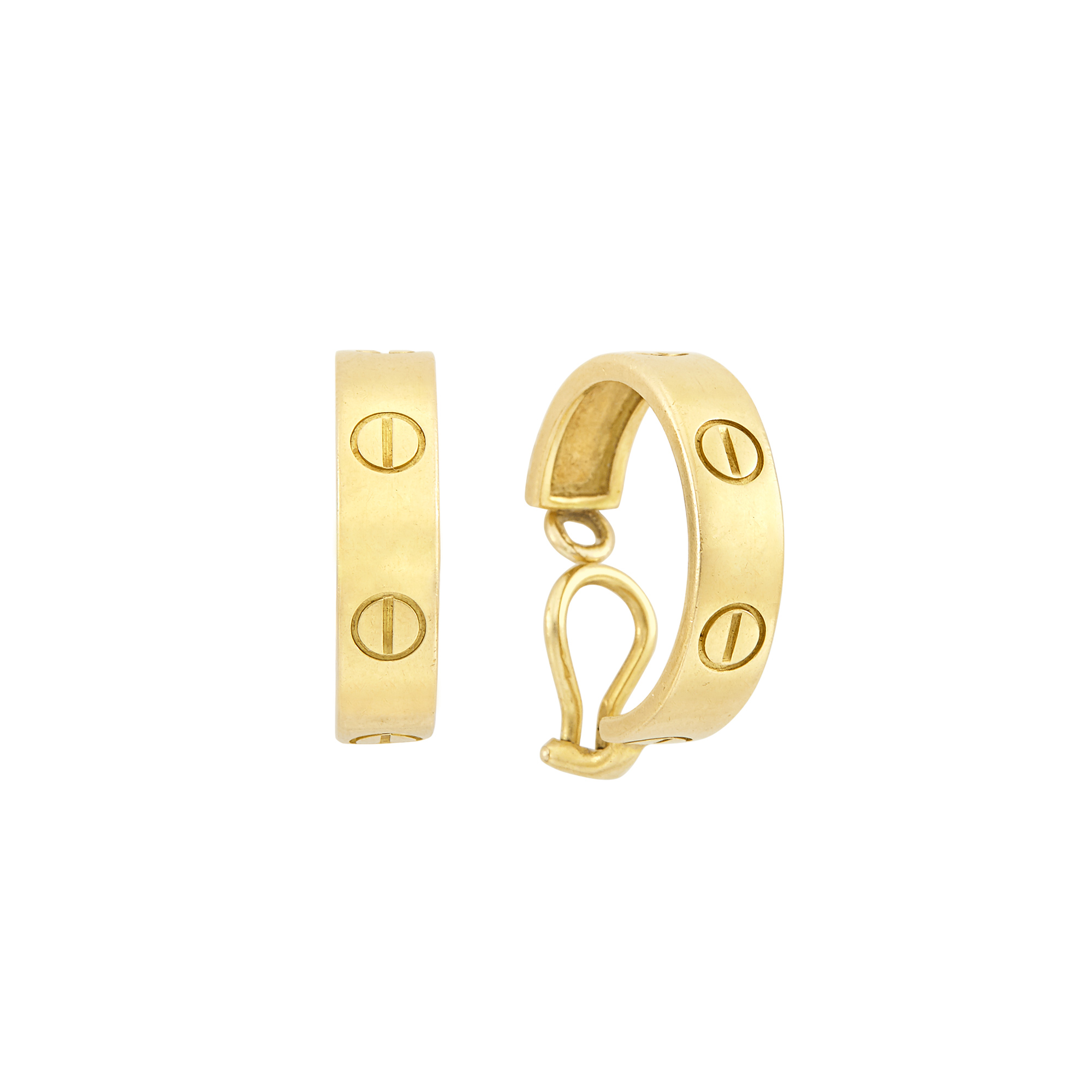 Lot image - Pair of Gold Love Hoop Earclips, Cartier