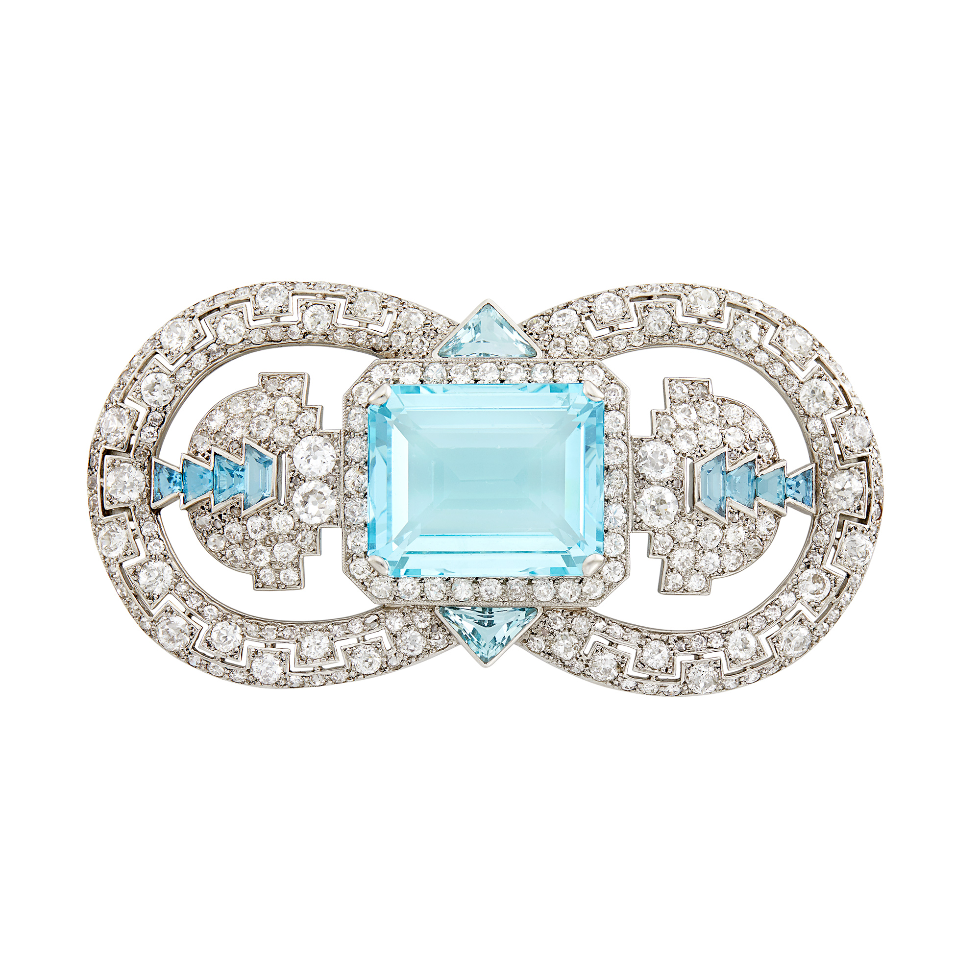 Lot image - Cartier London Platinum, Aquamarine and Diamond Brooch