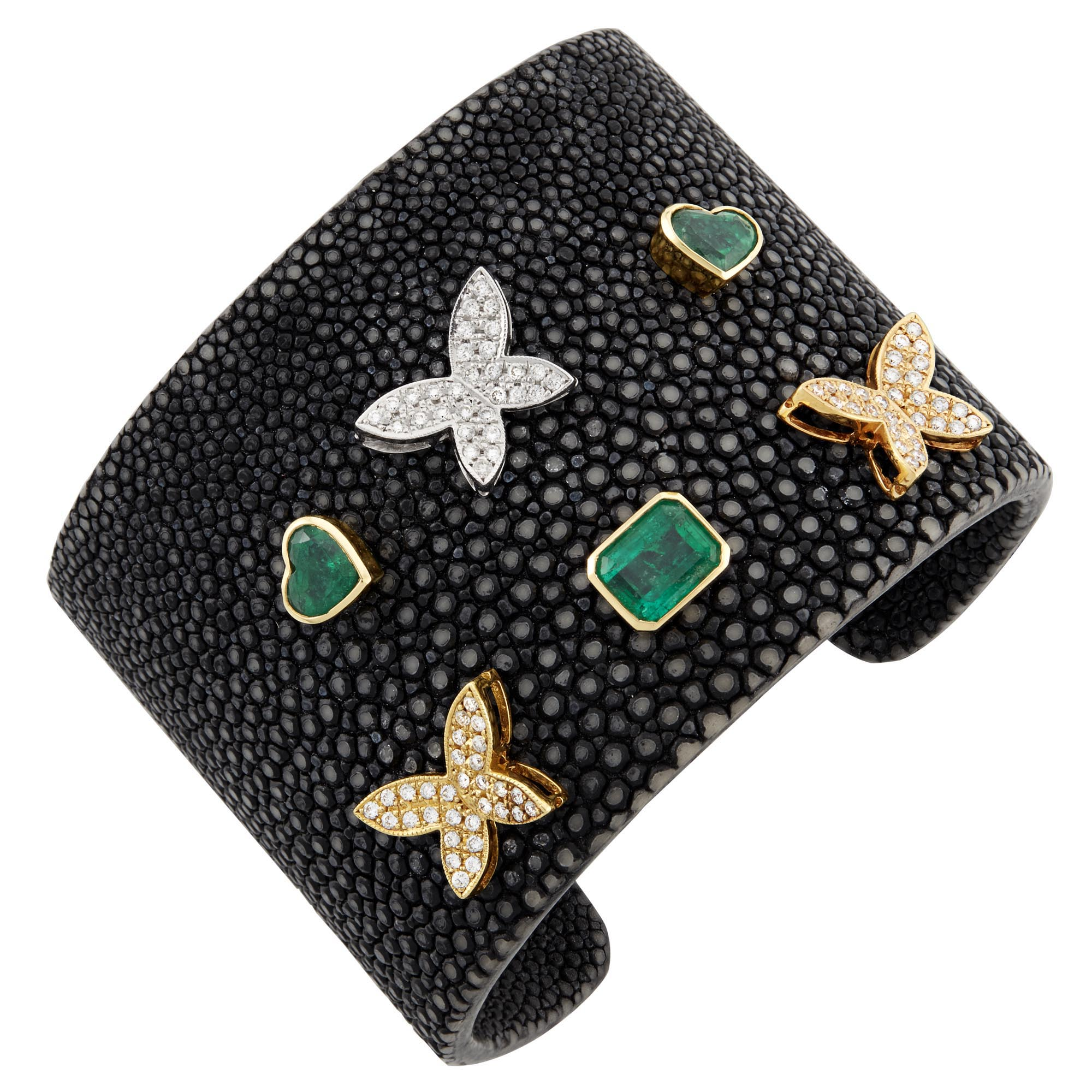 Lot image - Two-Color Gold, Emerald and Shagreen Cuff Bracelet