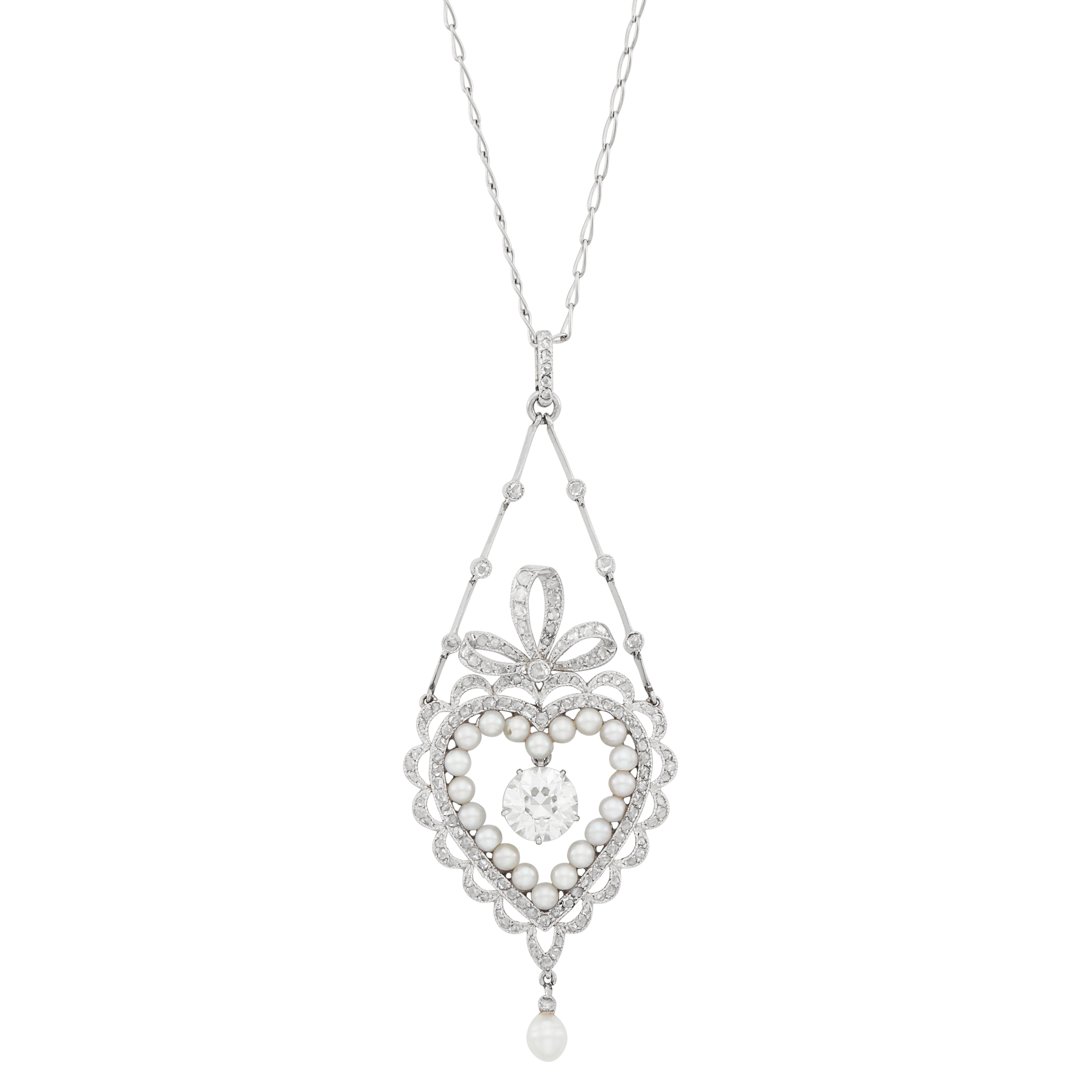 Lot image - Belle Époque Platinum, Diamond and Pearl Heart Pendant-Necklace