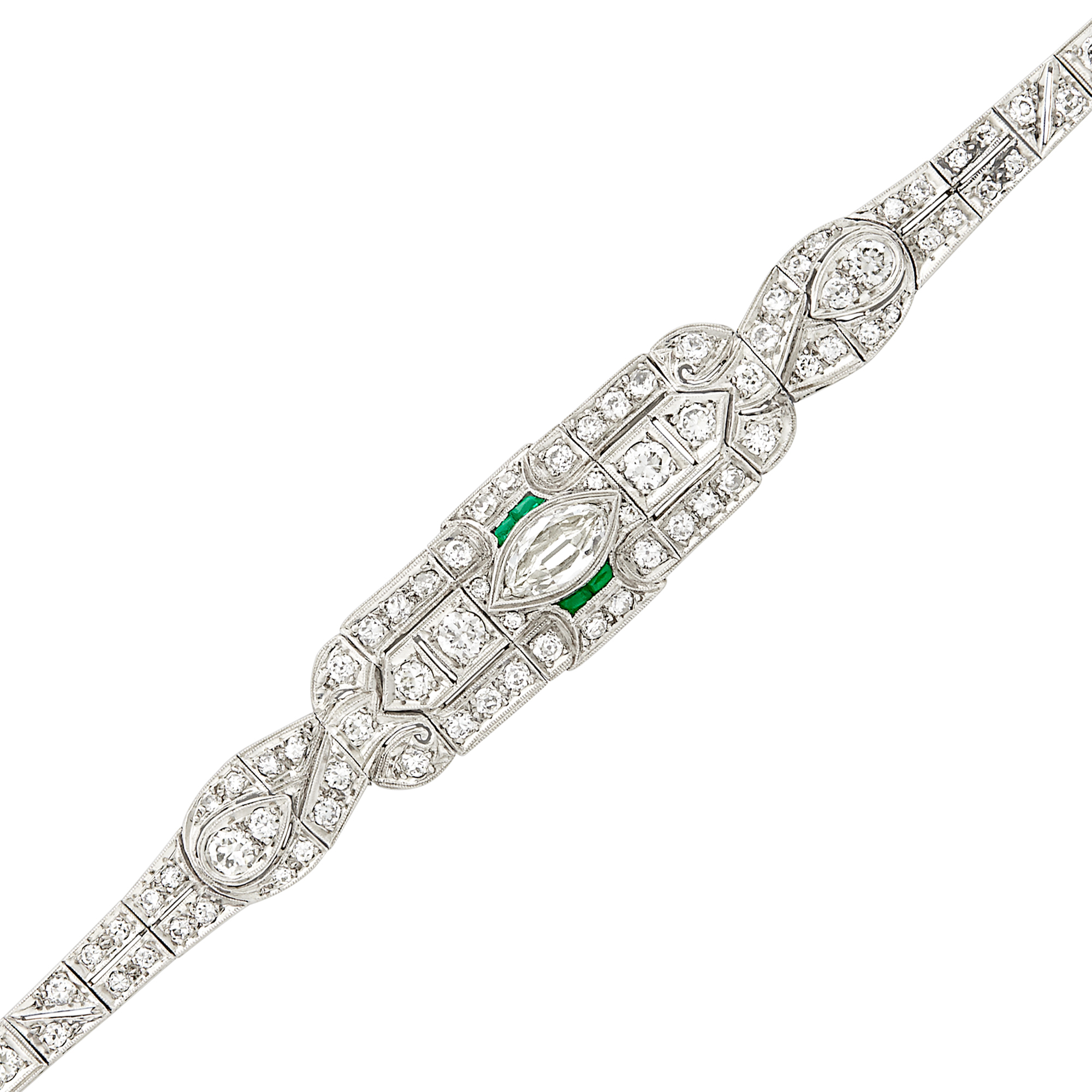 Lot image - Platinum, Diamond and Simulated Emerald Bracelet