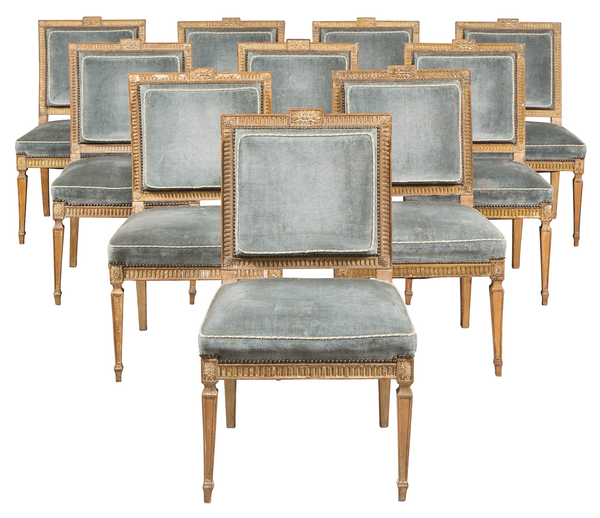 Lot image - Set of Ten George III Beechwood and Parcel-Gilt Dining Chairs