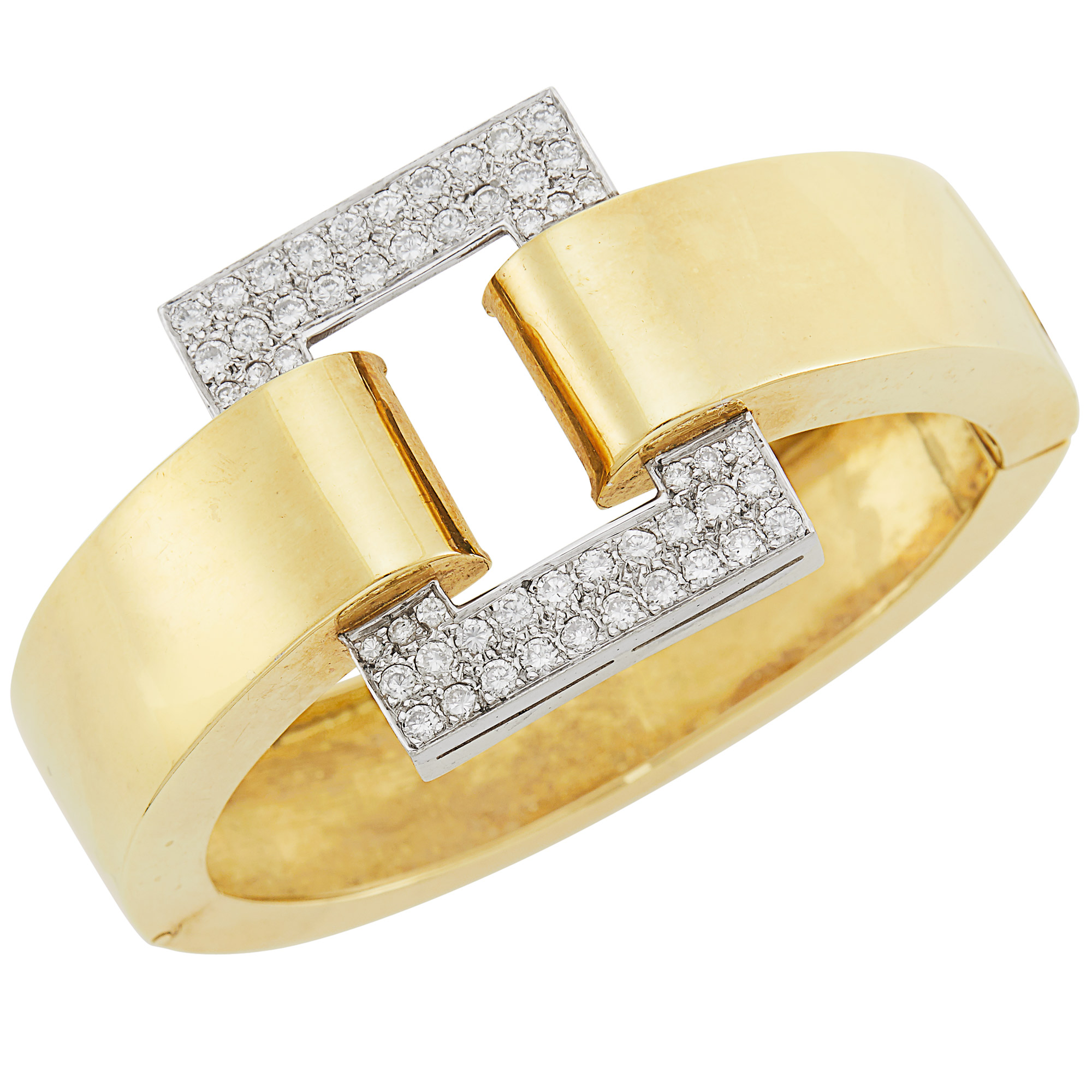 Lot image - Two-Color Gold and Diamond Bangle Bracelet